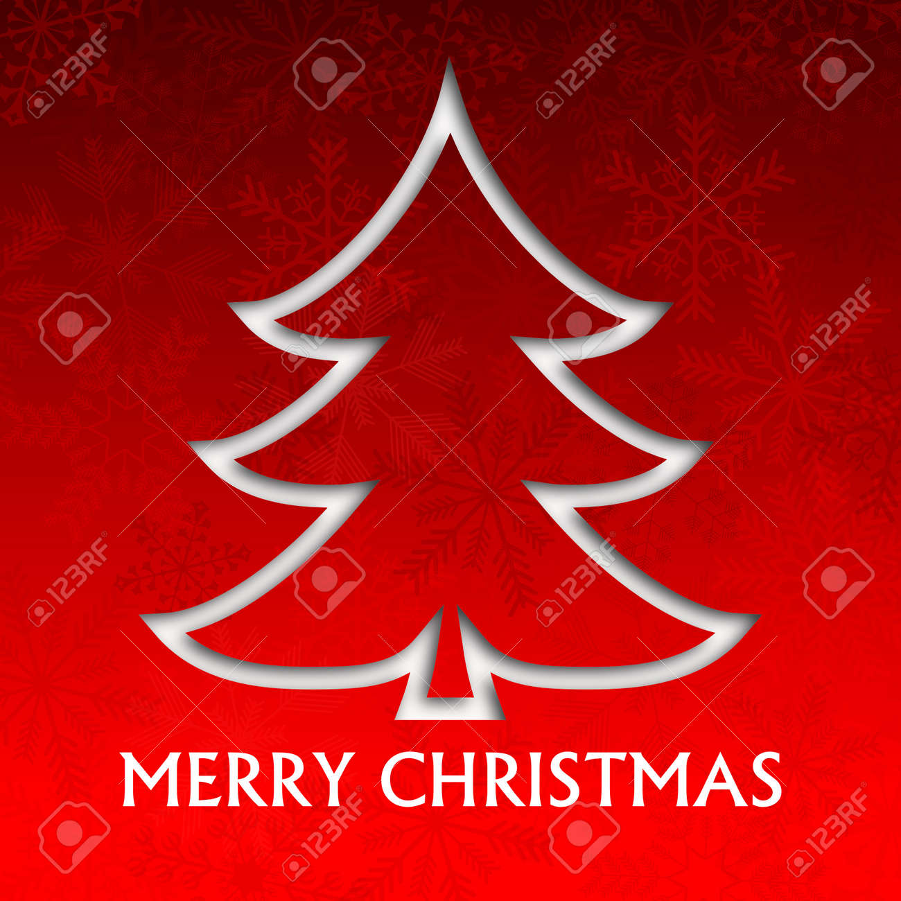 merry christmas illustration with christmas tree and snowflakes Stock Photo - 16506296