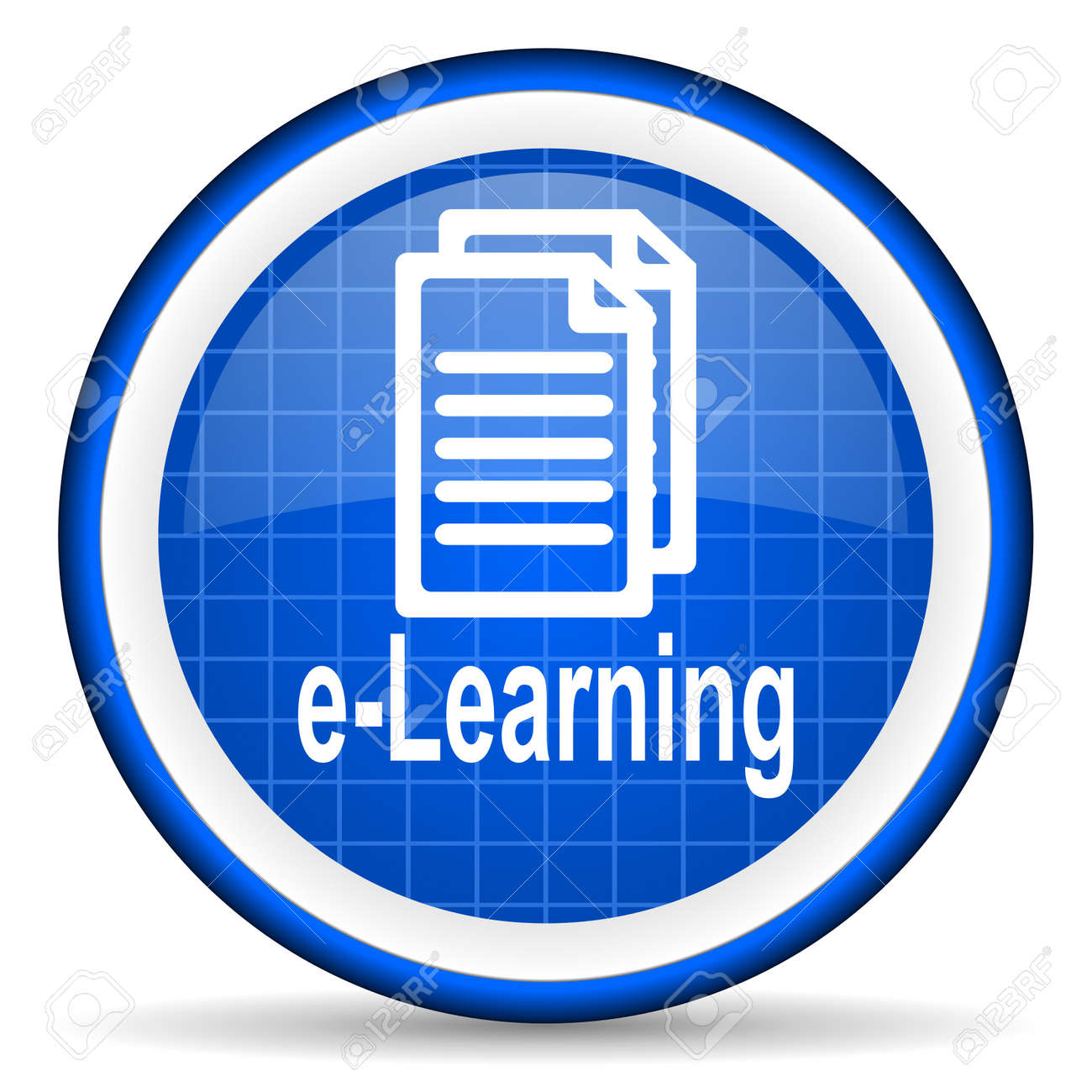 e-learning blue glossy icon on white background Stock Photo - 16581439
