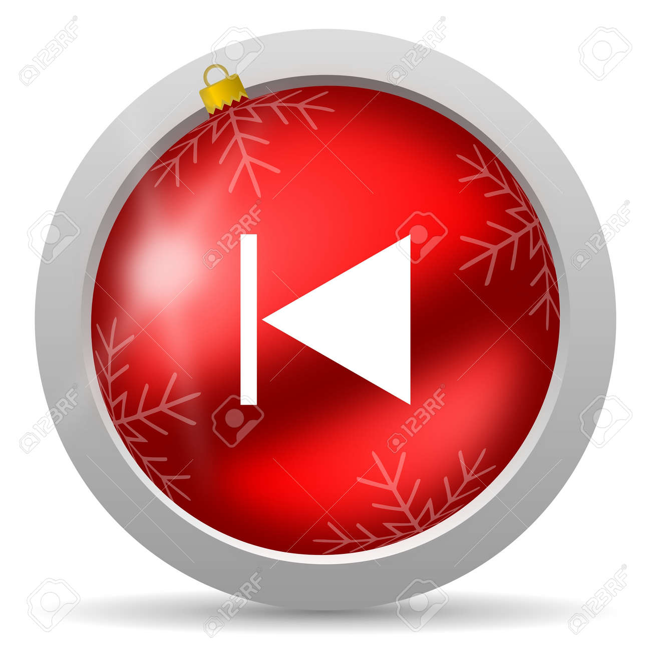 prev red glossy christmas icon on white background Stock Photo - 16580446
