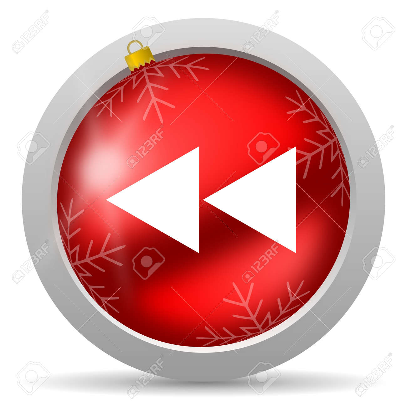 scroll red glossy christmas icon on white background Stock Photo - 16580434