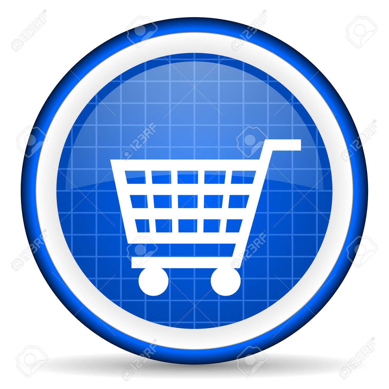 shopping cart blue glossy icon on white background Stock Photo - 16581316