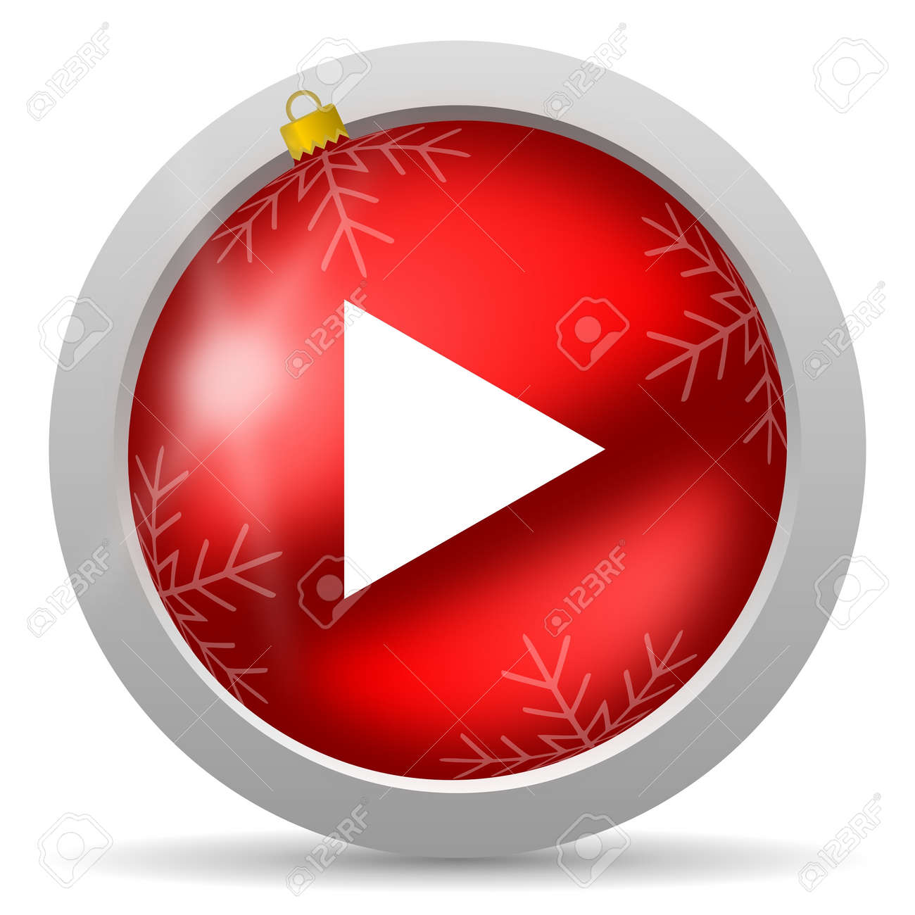 play red glossy christmas icon on white background Stock Photo - 16580439