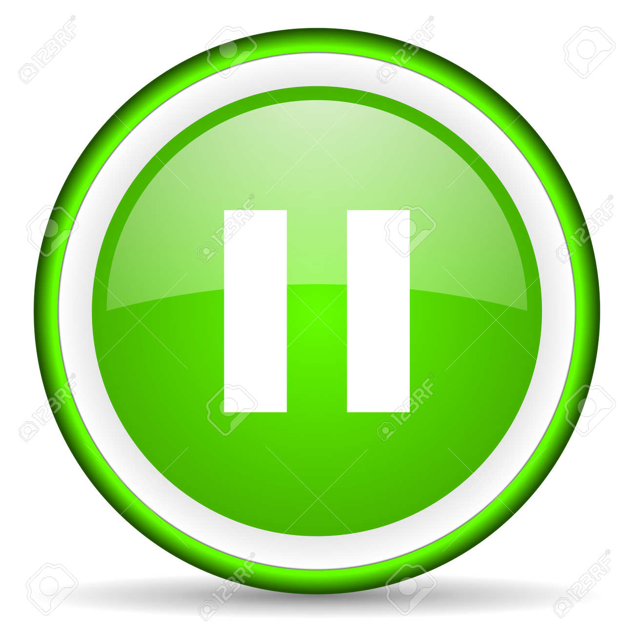pause green glossy icon on white background Stock Photo - 16622730