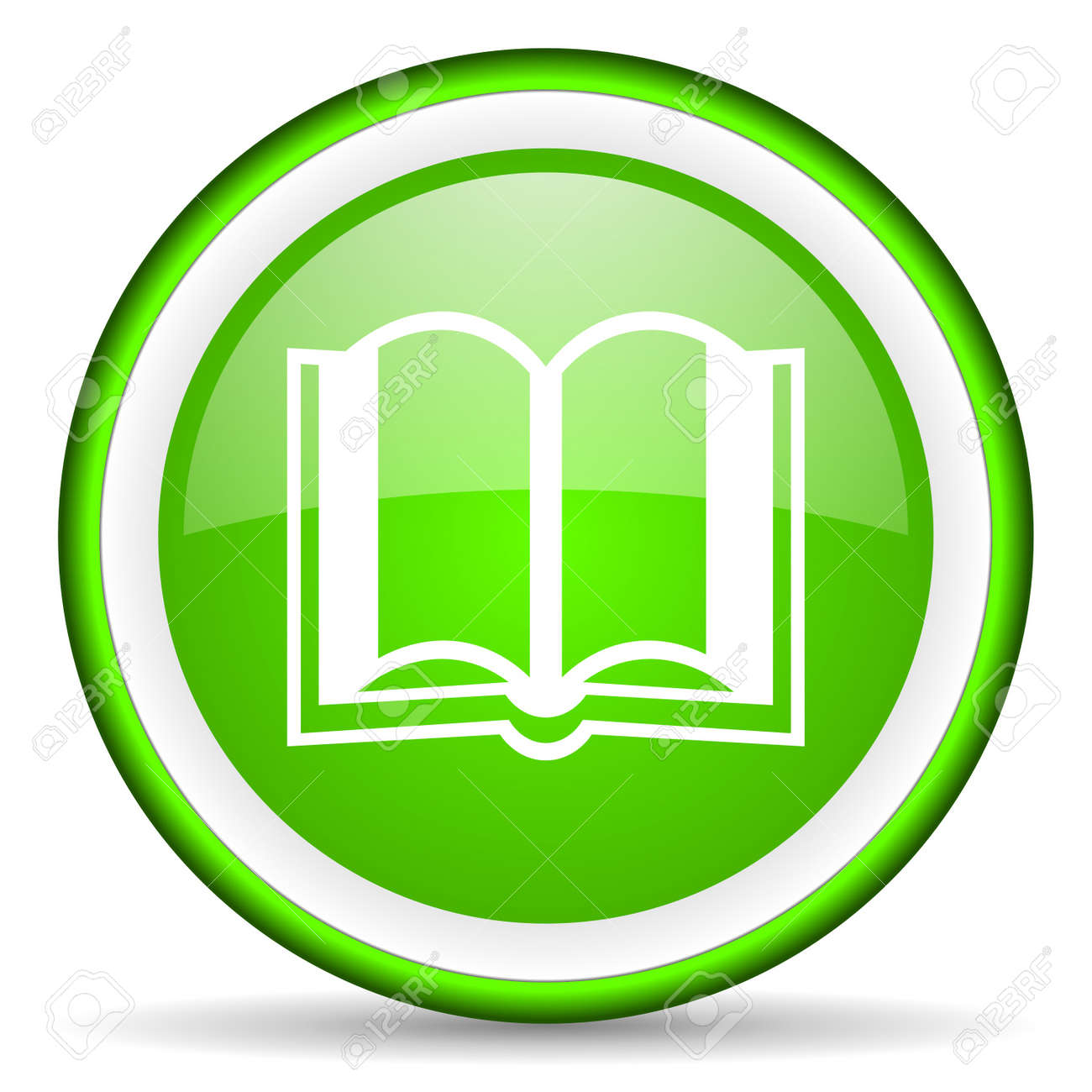 book green glossy icon on white background Stock Photo - 16623064