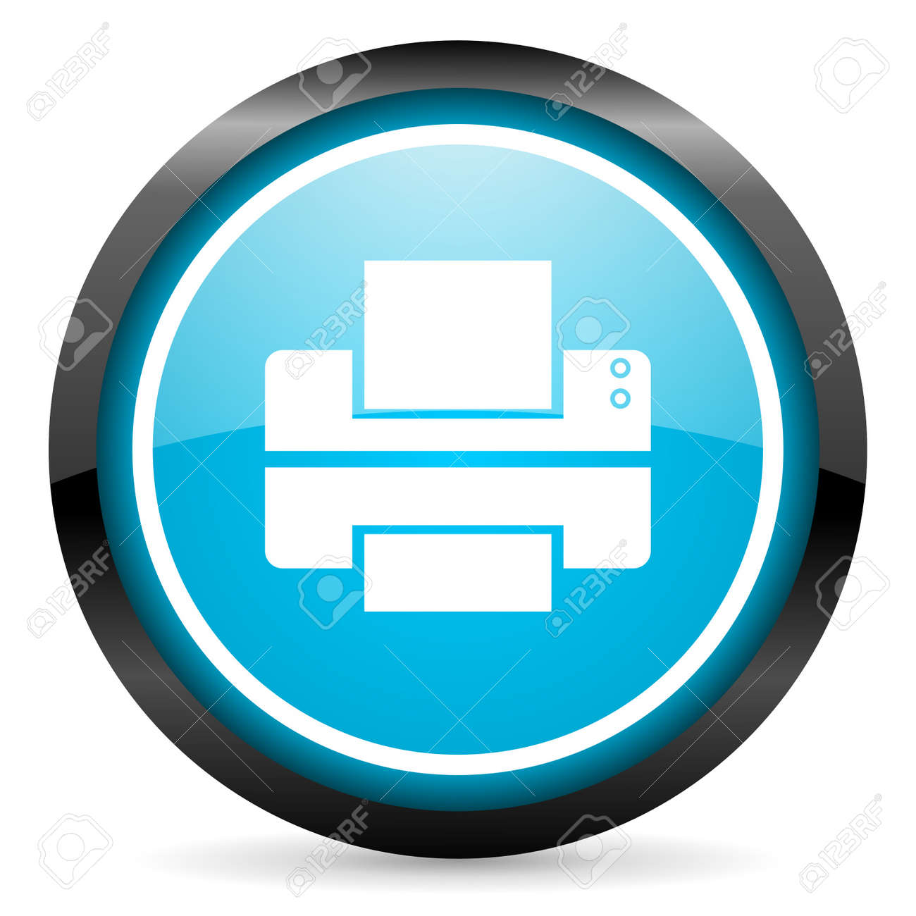 printer blue glossy circle icon on white background Stock Photo - 16674680