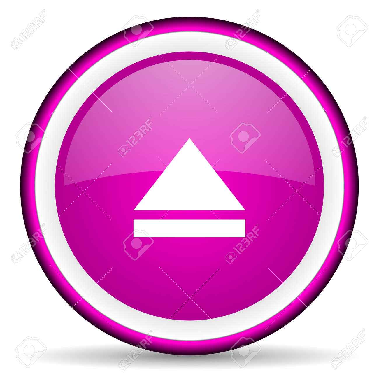 eject violet glossy icon on white background Stock Photo - 16679118