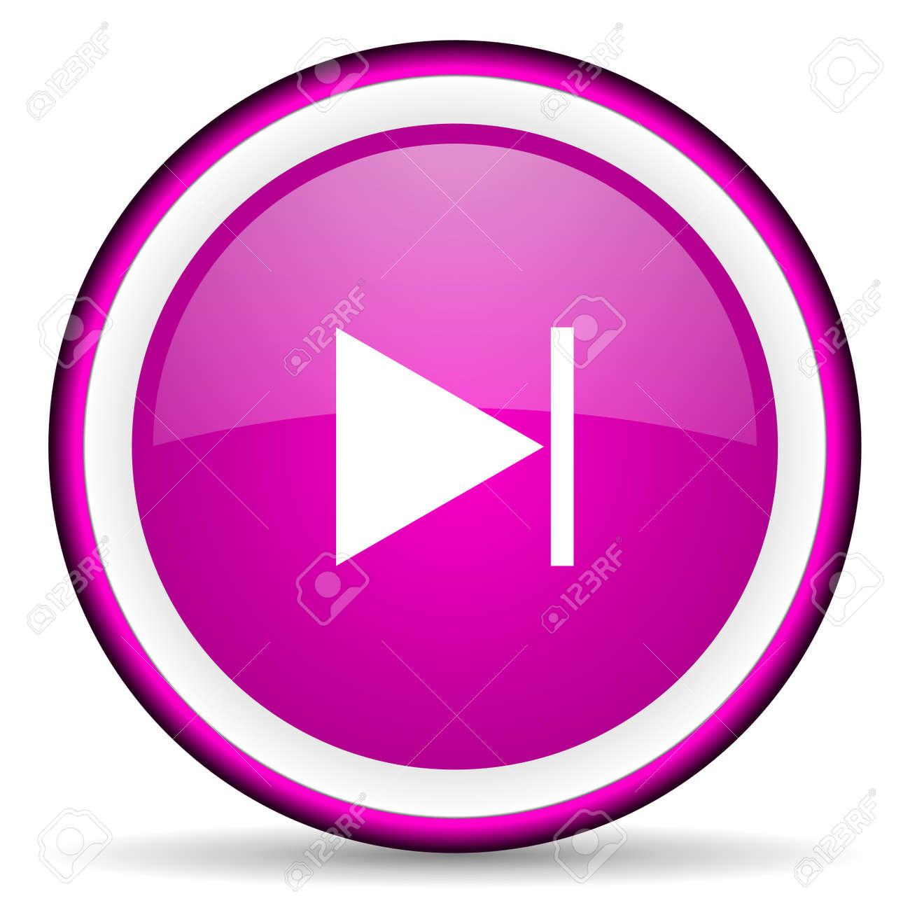 next violet glossy icon on white background Stock Photo - 16679106