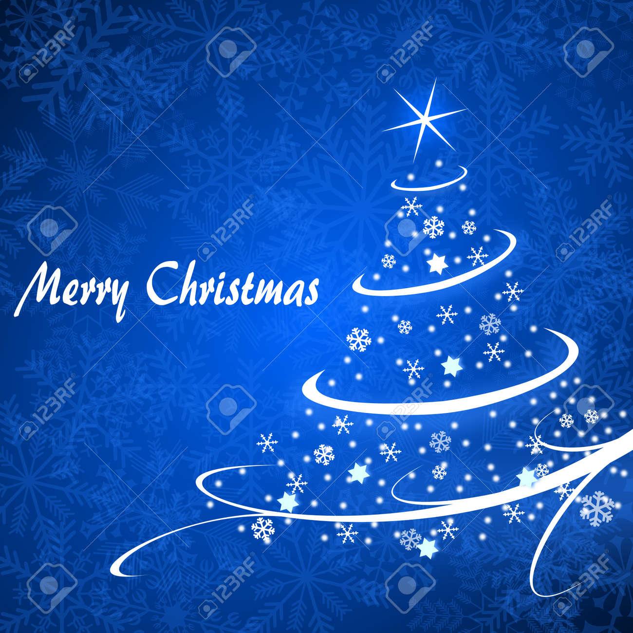 christmas card illustration with christmas tree on blue background Stock Illustration - 16736609
