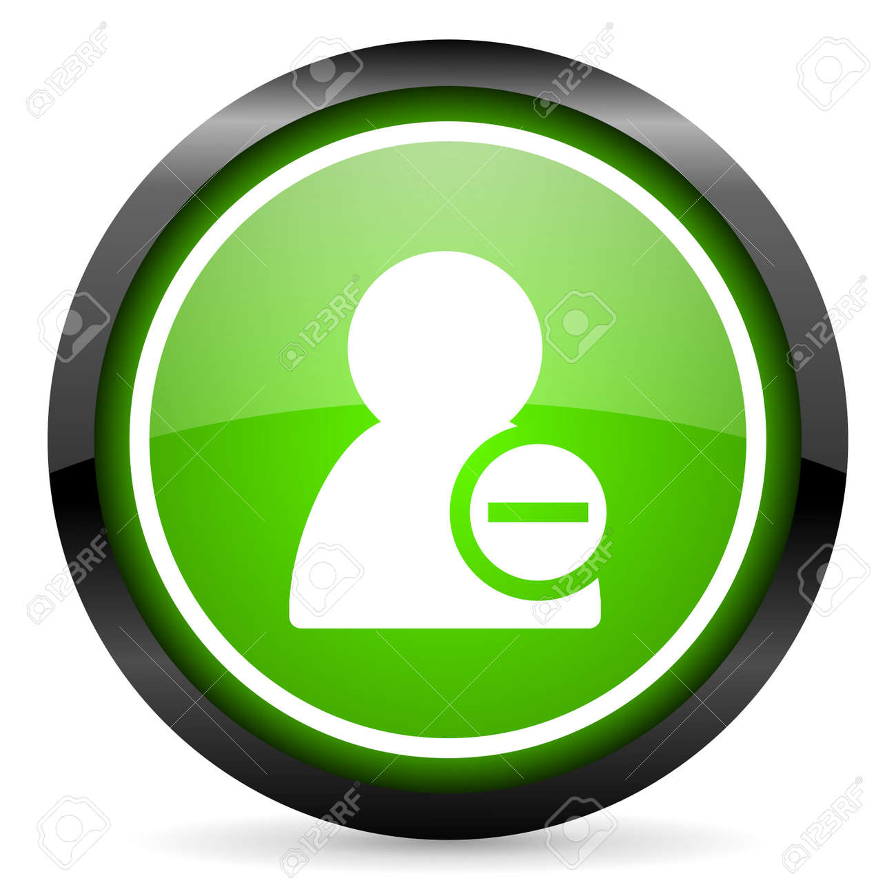 remove contact green glossy icon on white background Stock Photo - 16736733