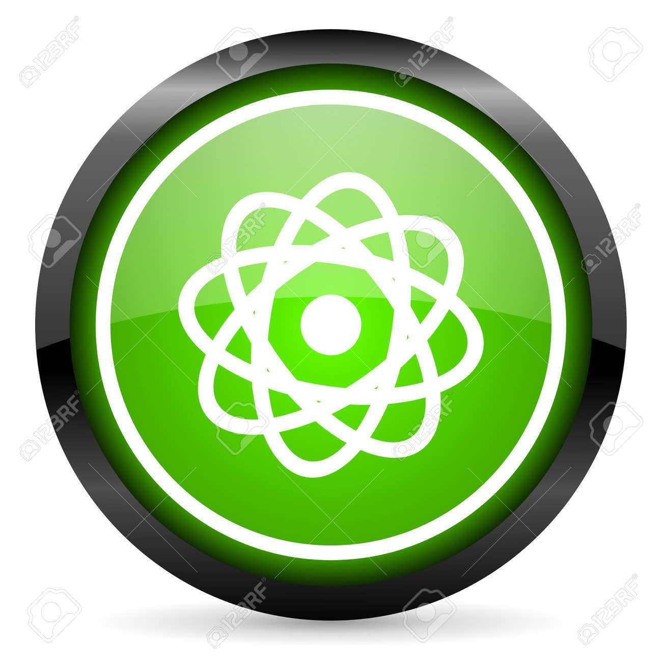 atom green glossy icon on white background Stock Photo - 16736823