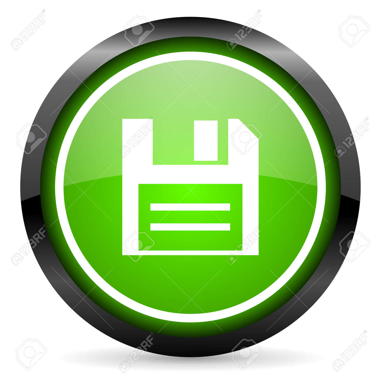 disk green glossy icon on white background Stock Photo - 16736781