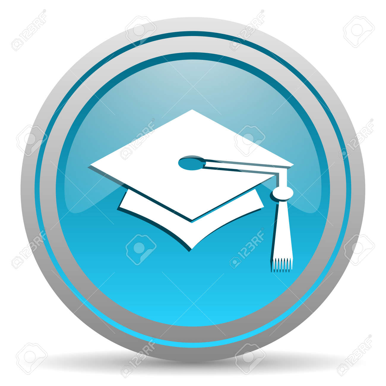 graduation blue glossy icon on white background Stock Photo - 16809966