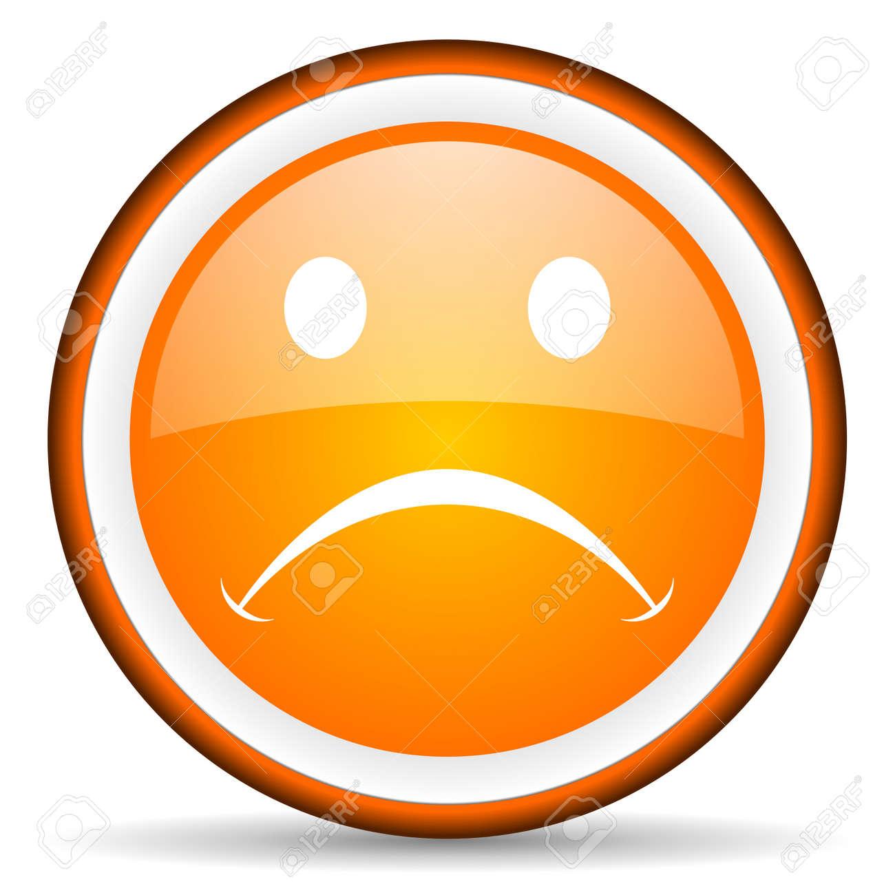 cry orange glossy icon on white background Stock Photo - 16881493