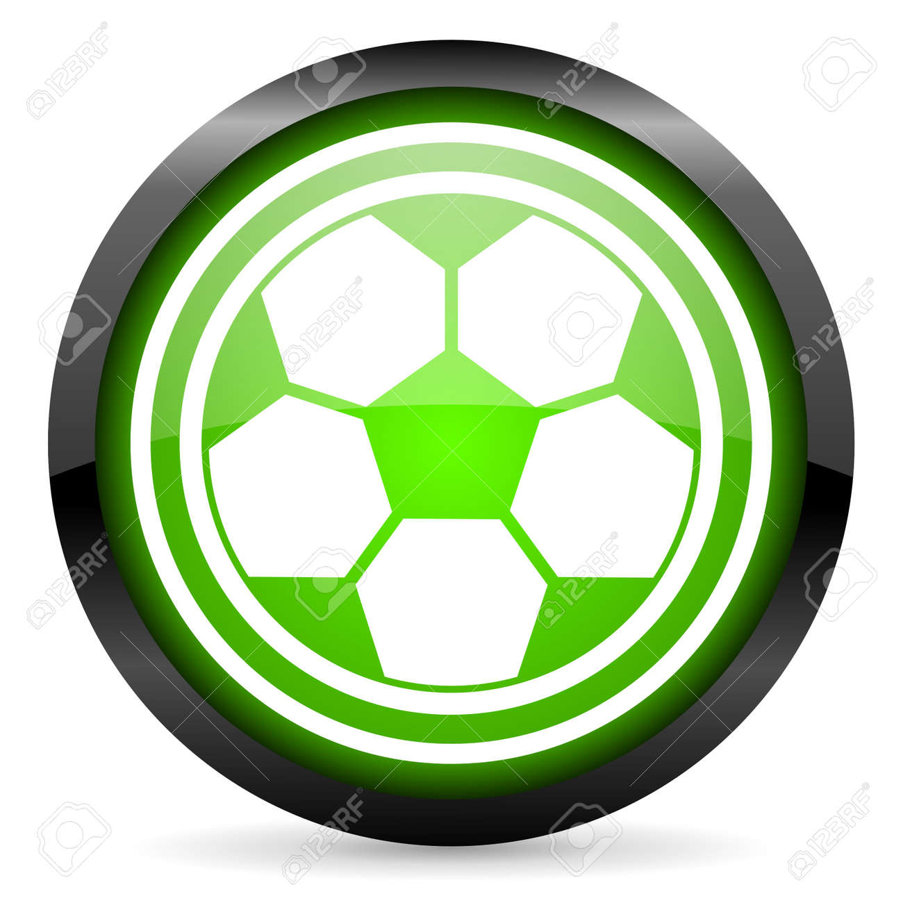 soccer green glossy icon on white background Stock Photo - 16955331