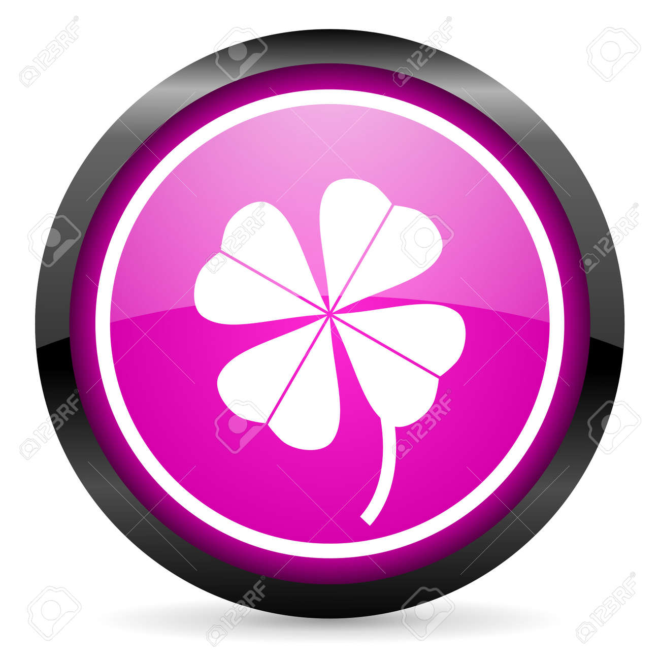 four-leaf clover violet glossy icon on white background Stock Photo - 16955325