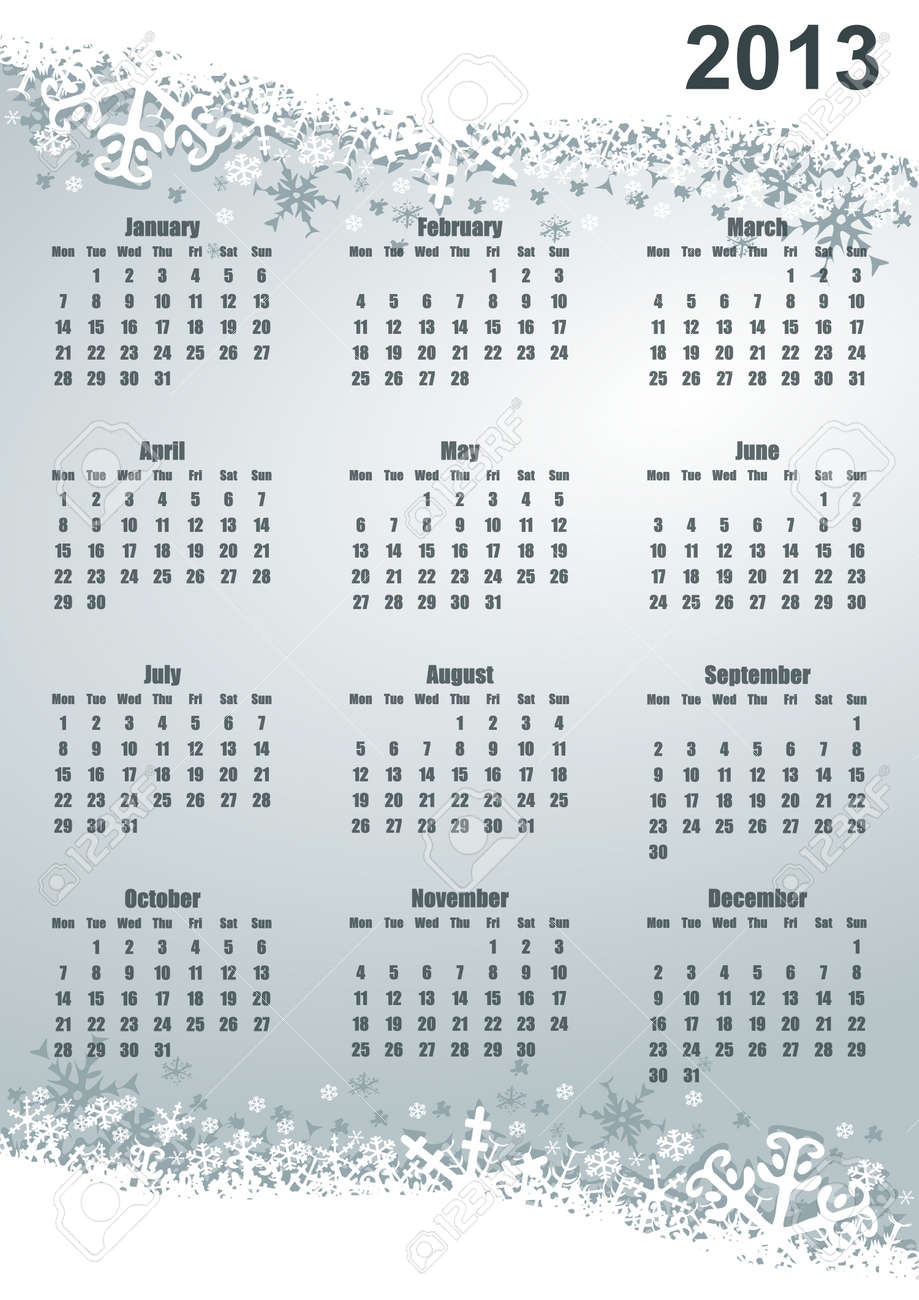 2013 calendar with snowflakes Stock Photo - 16955556