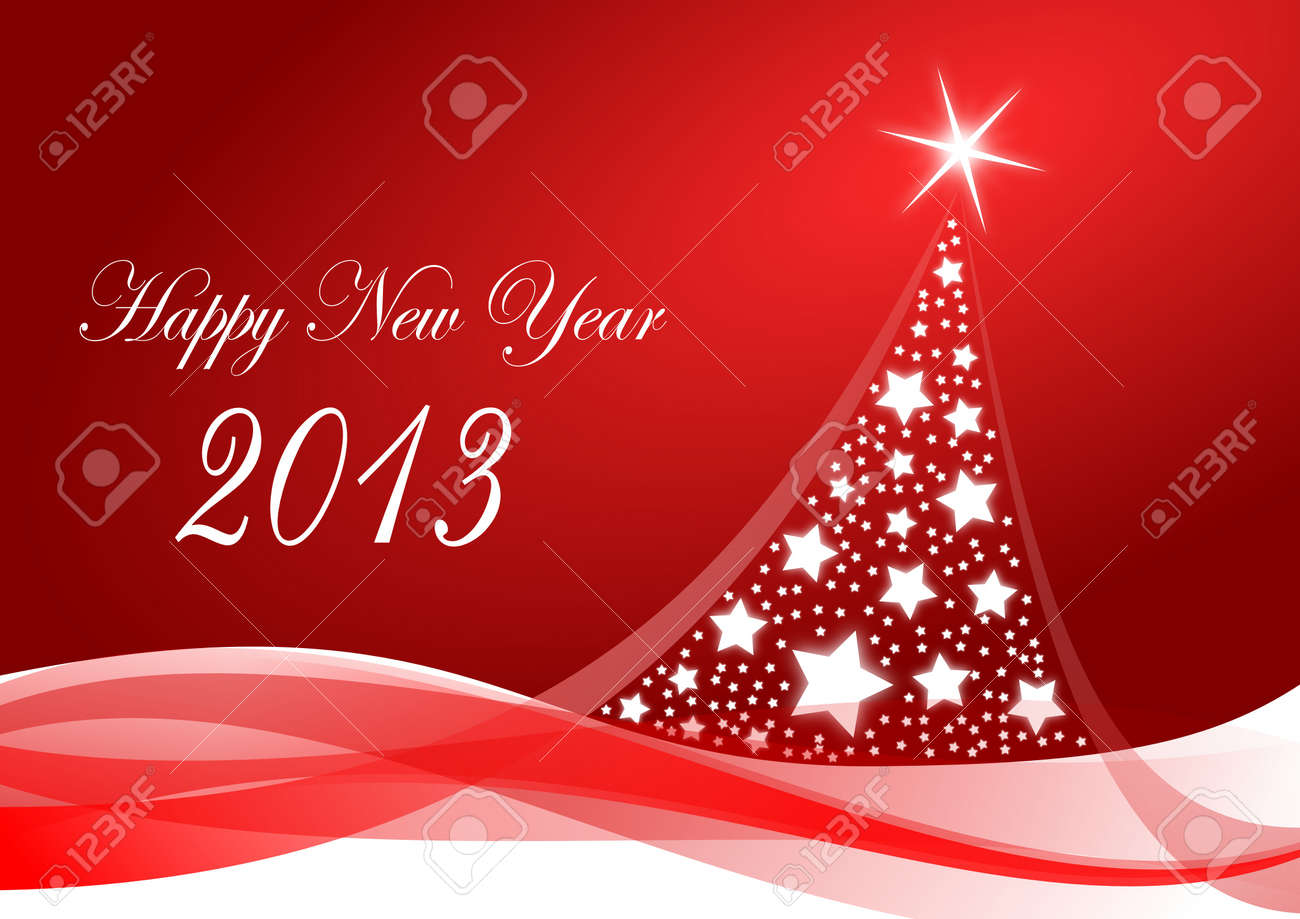 happy new year 2013 illustration with christmas tree Stock Photo - 16955554