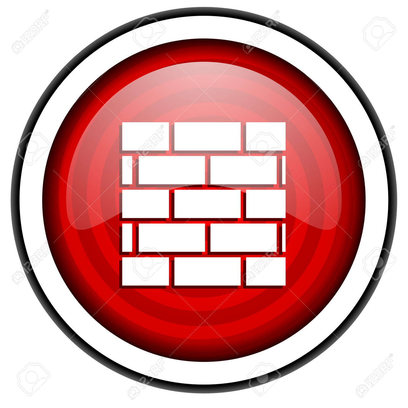 firewall red glossy icon isolated on white background Stock Photo - 16975128