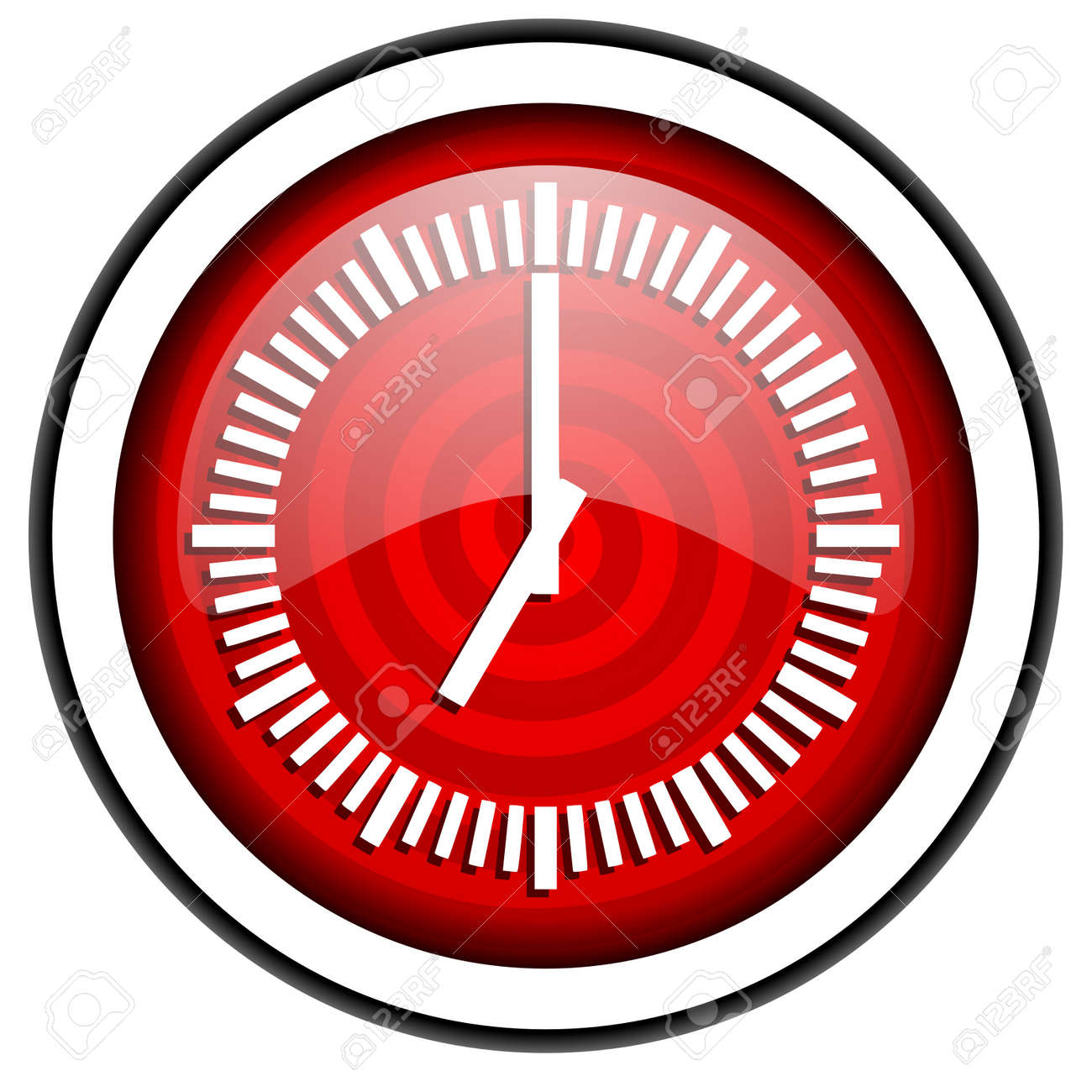 clock red glossy icon isolated on white background Stock Photo - 16975357