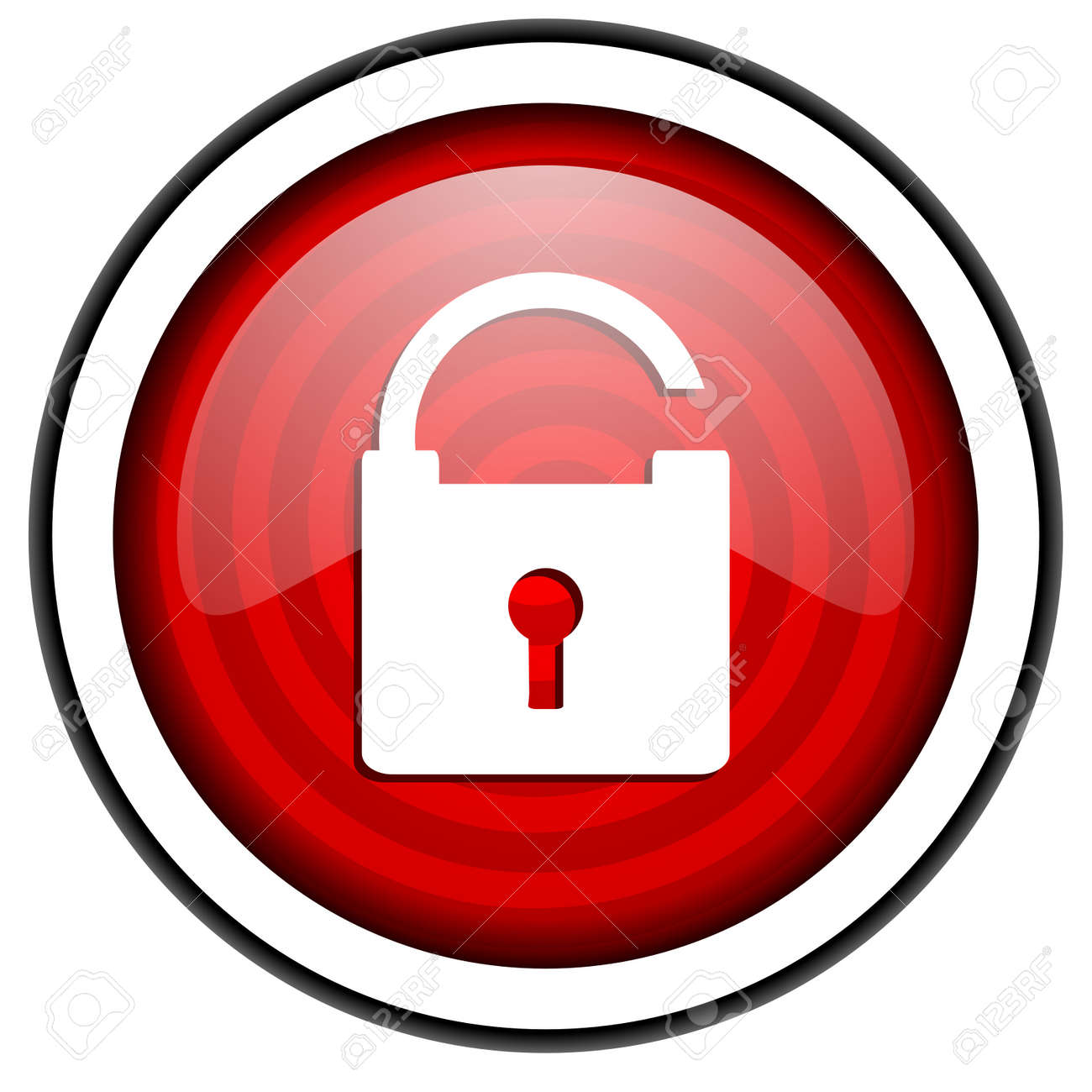 padlock red glossy icon isolated on white background Stock Photo - 16974993