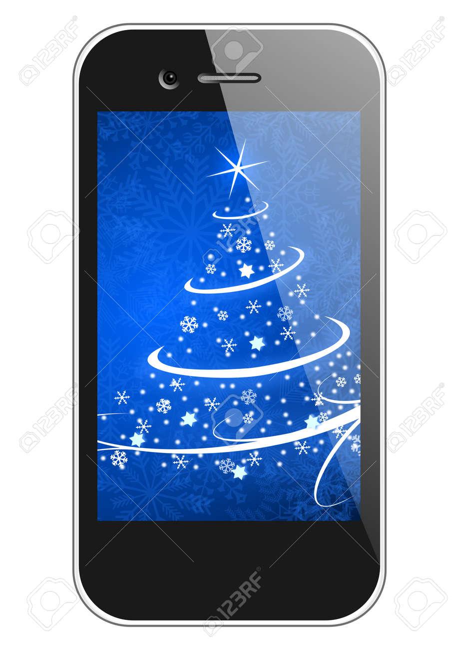 moblie phone with christmas tree wallpaper christmas illustration Stock Illustration - 16975362