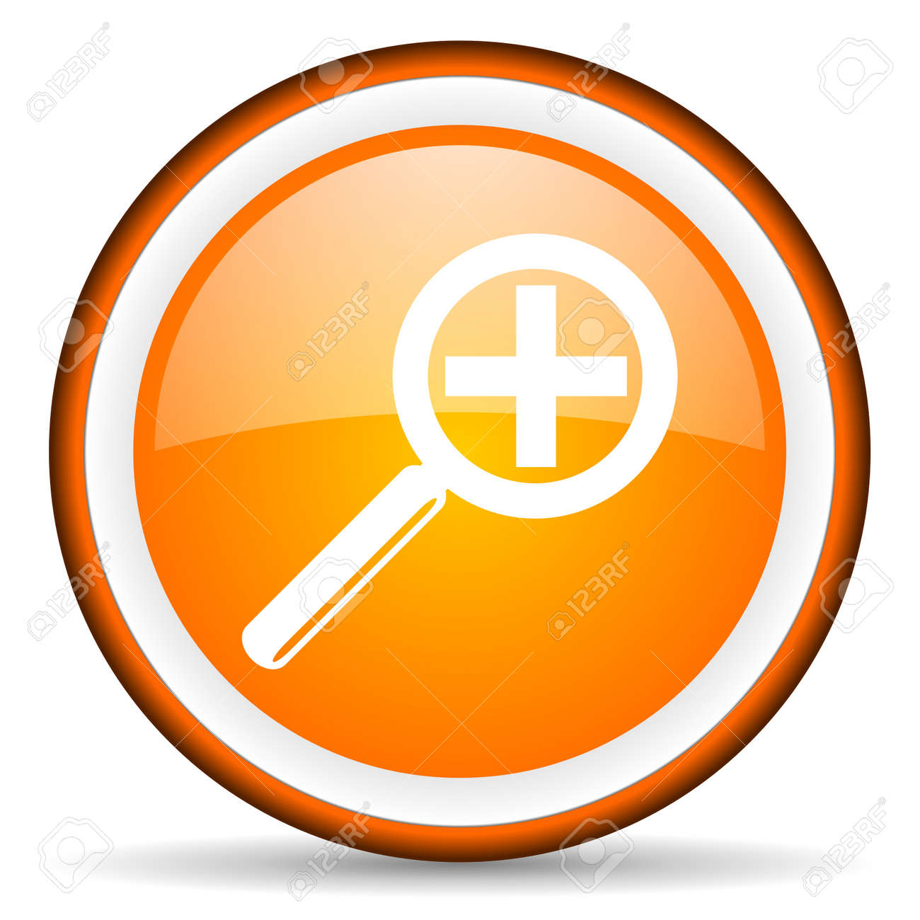 magnification orange glossy icon on white background Stock Photo - 17065993