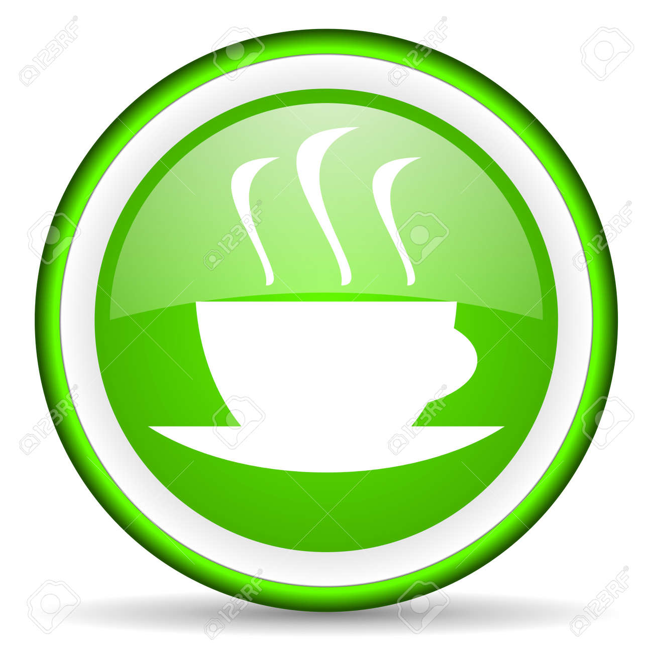 coffee green glossy icon on white background Stock Photo - 17065720