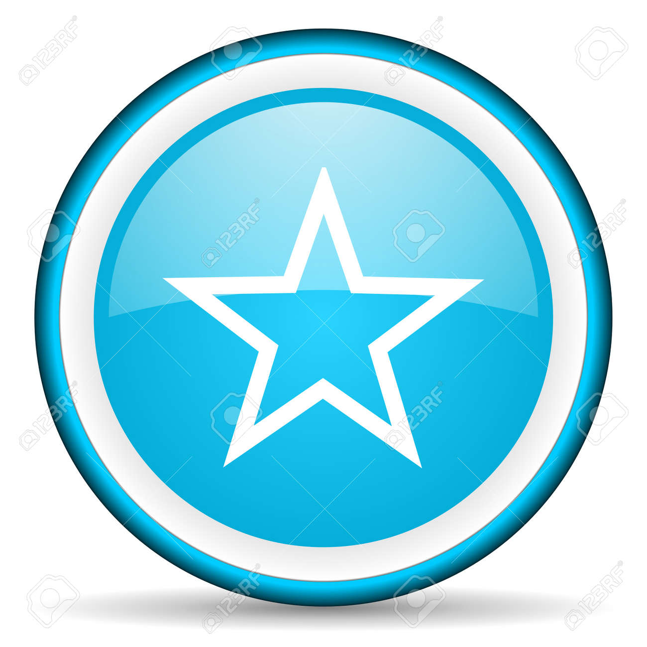 star blue glossy icon on white background Stock Photo - 17066399