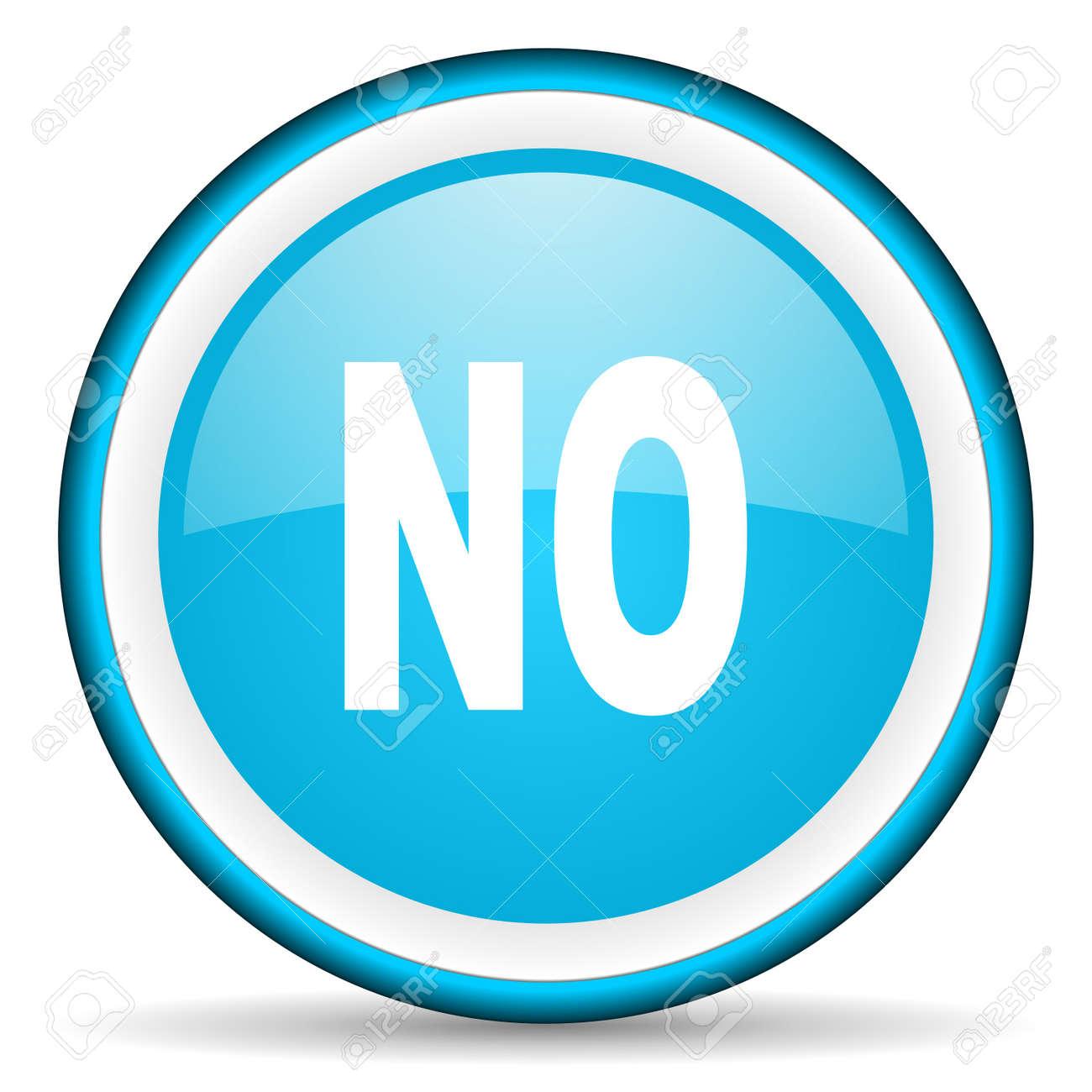 no blue glossy icon on white background Stock Photo - 17066183