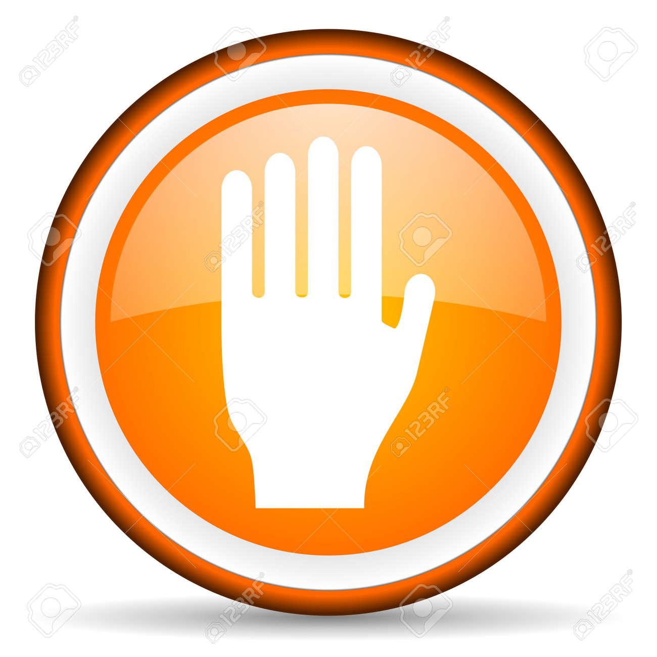 stop orange glossy icon on white background Stock Photo - 17066509