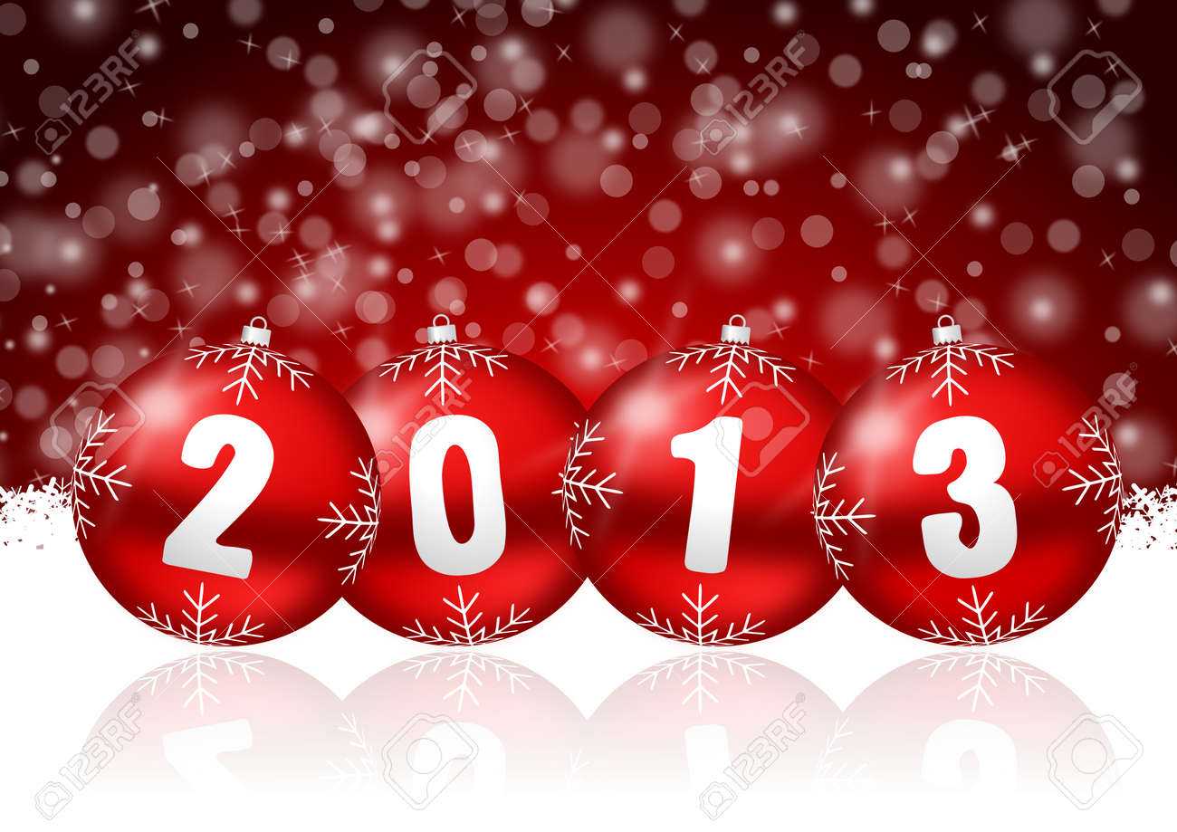 2013 new years illustration with christmas balls and snowflakes Stock Illustration - 17067139