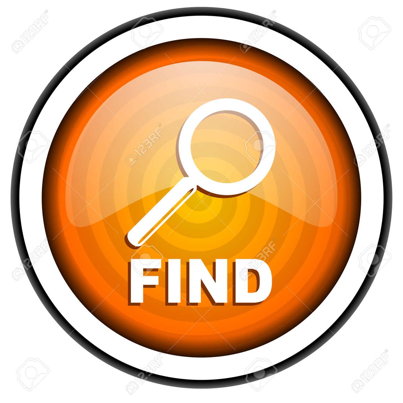 find orange glossy icon isolated on white background Stock Photo - 17067128