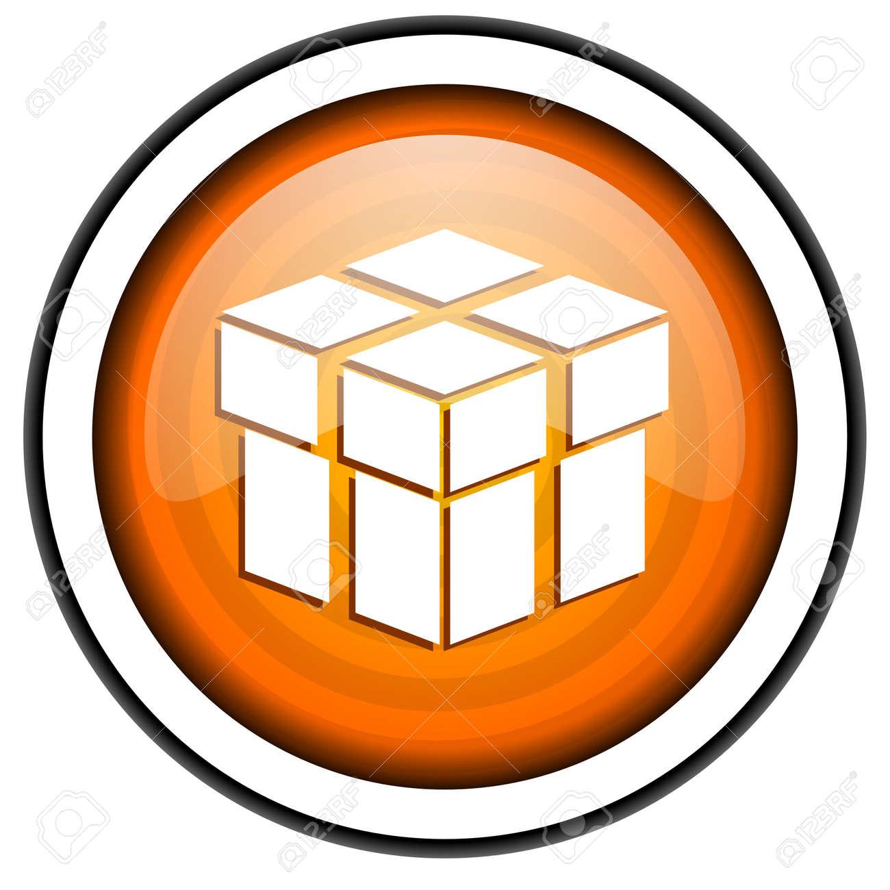 box orange glossy icon isolated on white background Stock Photo - 17067092