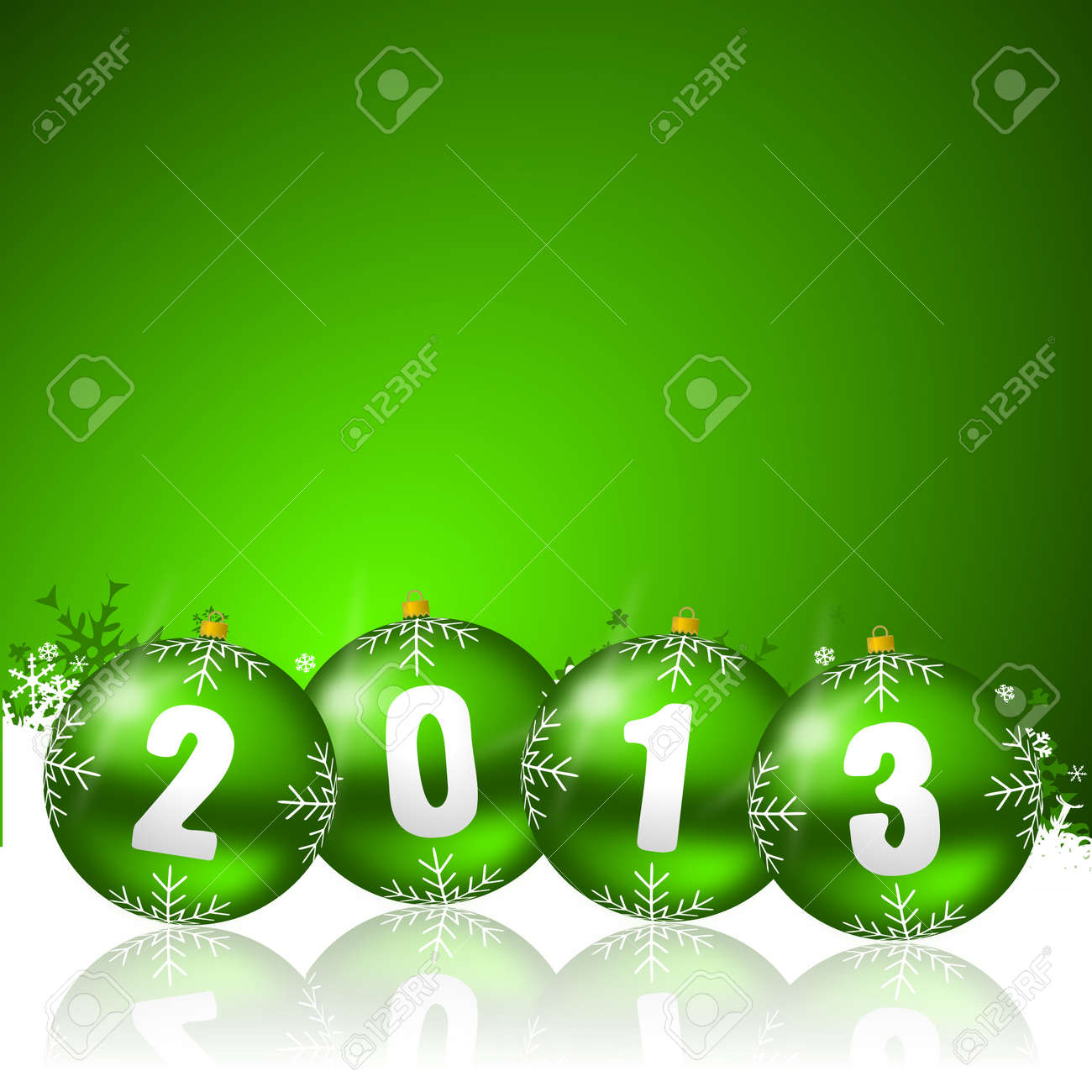 2013 new years illustration with christmas balls and snowflakes Stock Illustration - 17067226
