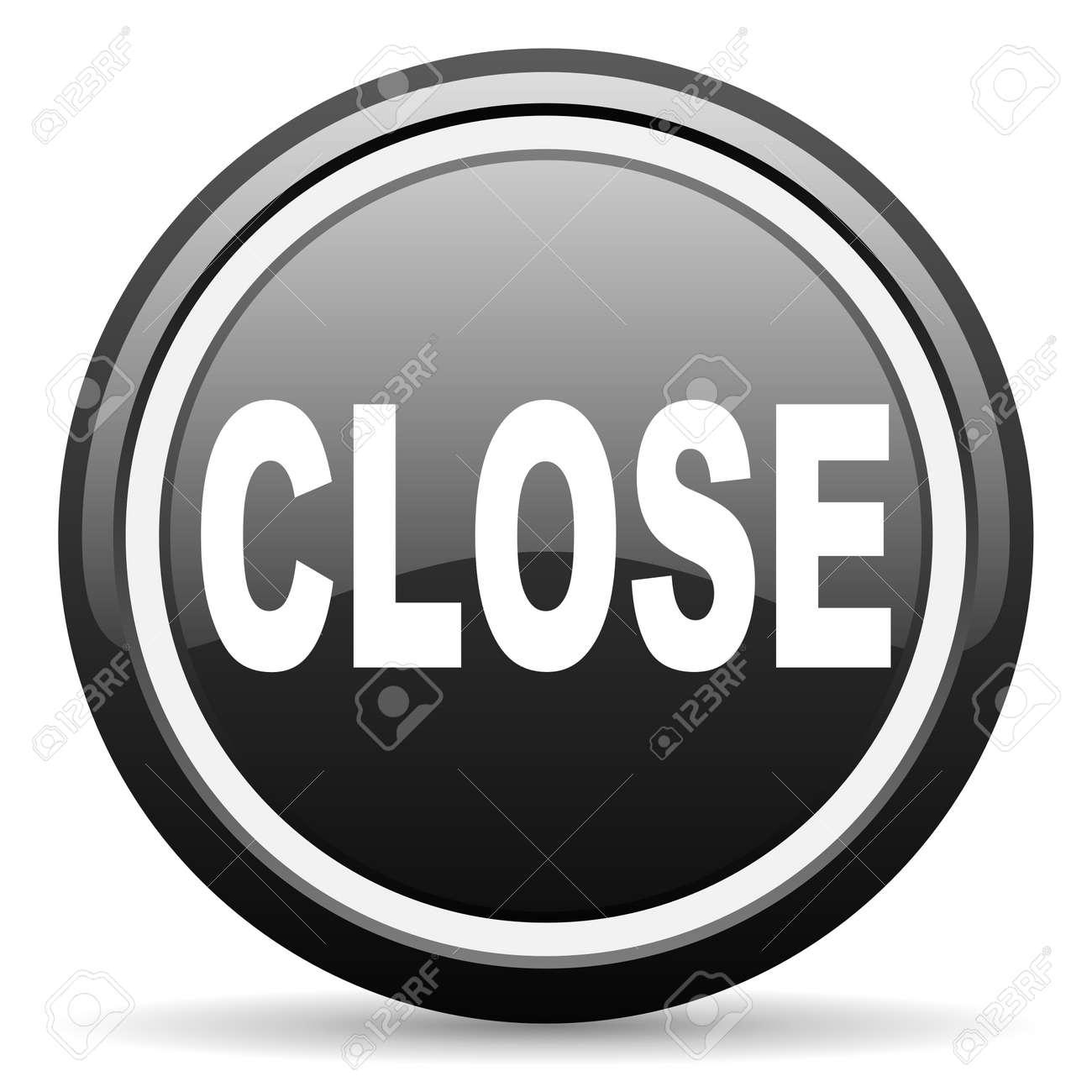 close black glossy icon on white background Stock Photo - 17087330