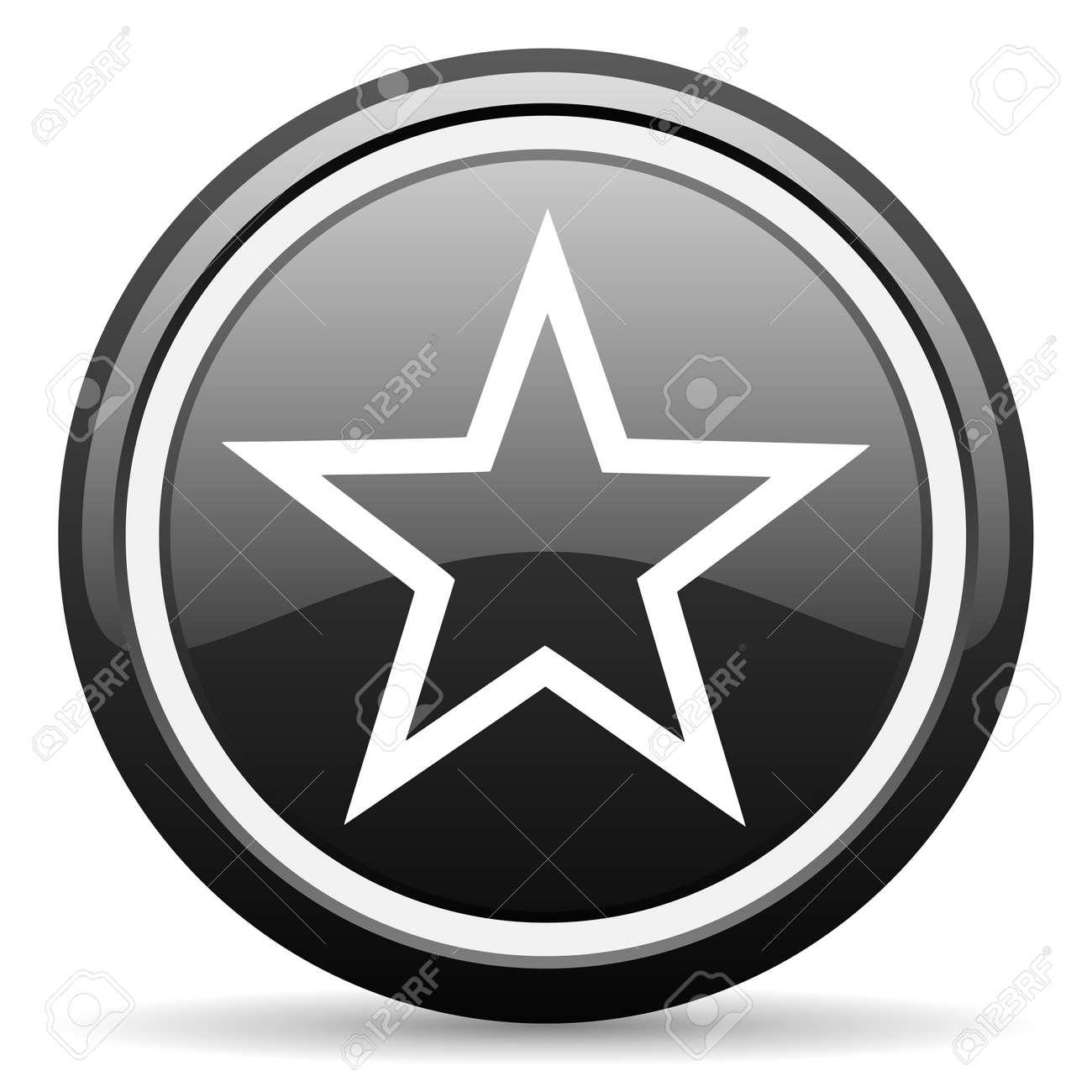 star black glossy icon on white background Stock Photo - 17083857