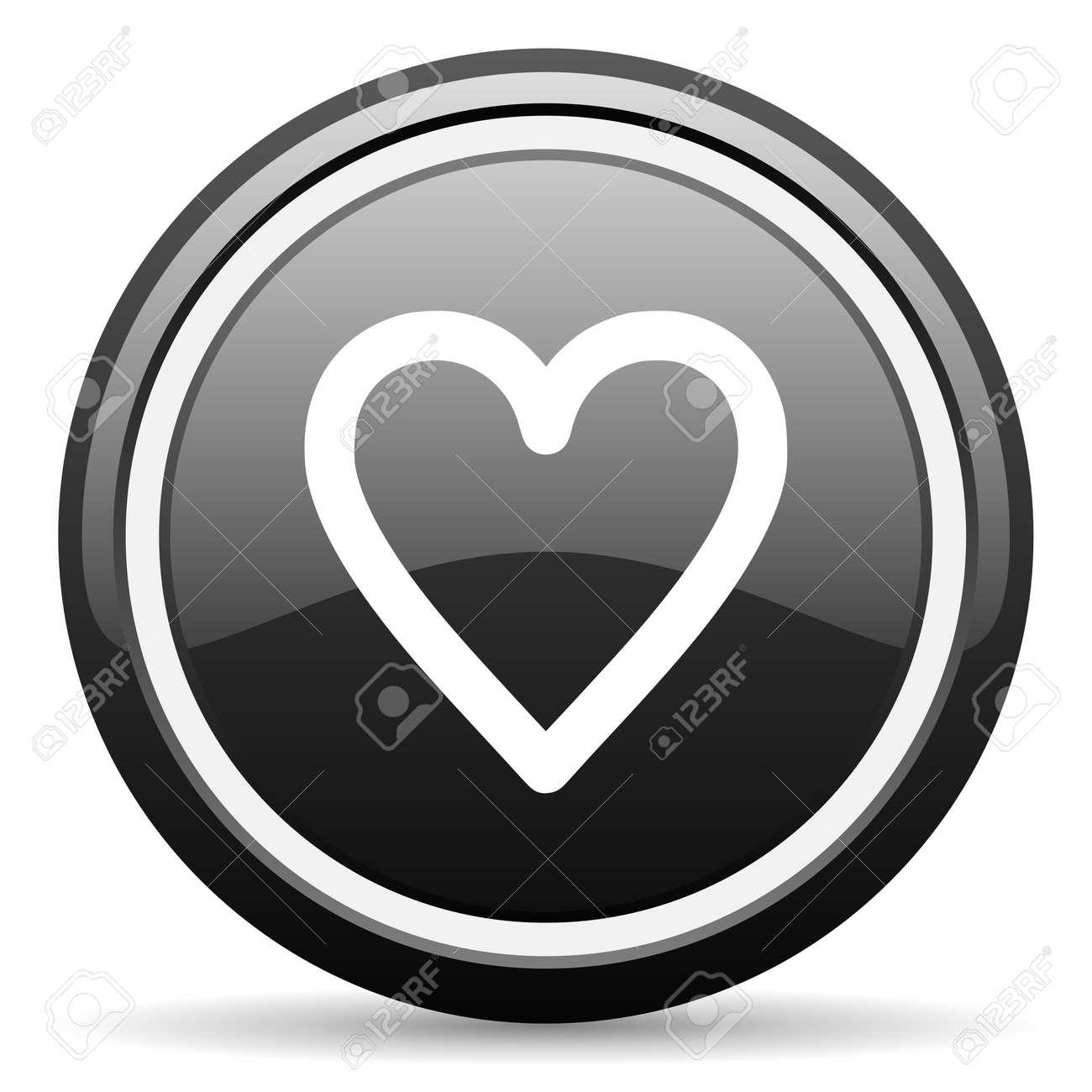 heart black glossy icon on white background Stock Photo - 17087335
