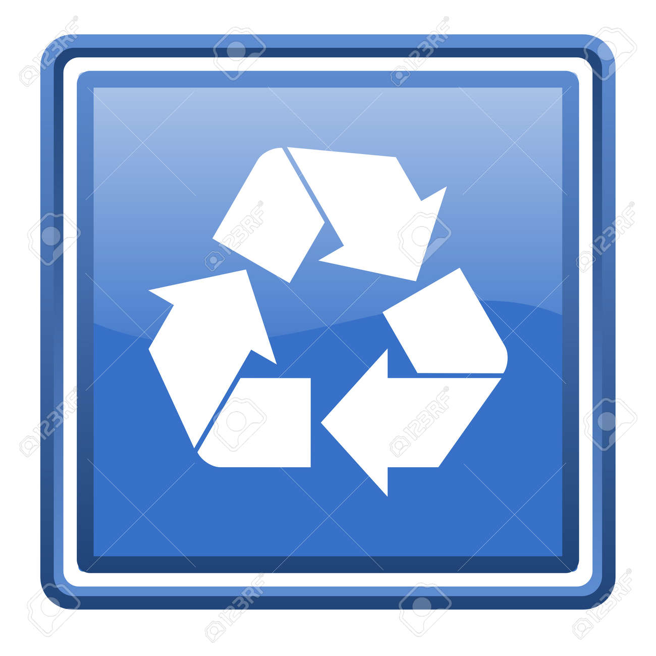 recycle blue glossy square web icon isolated Stock Photo - 17110021