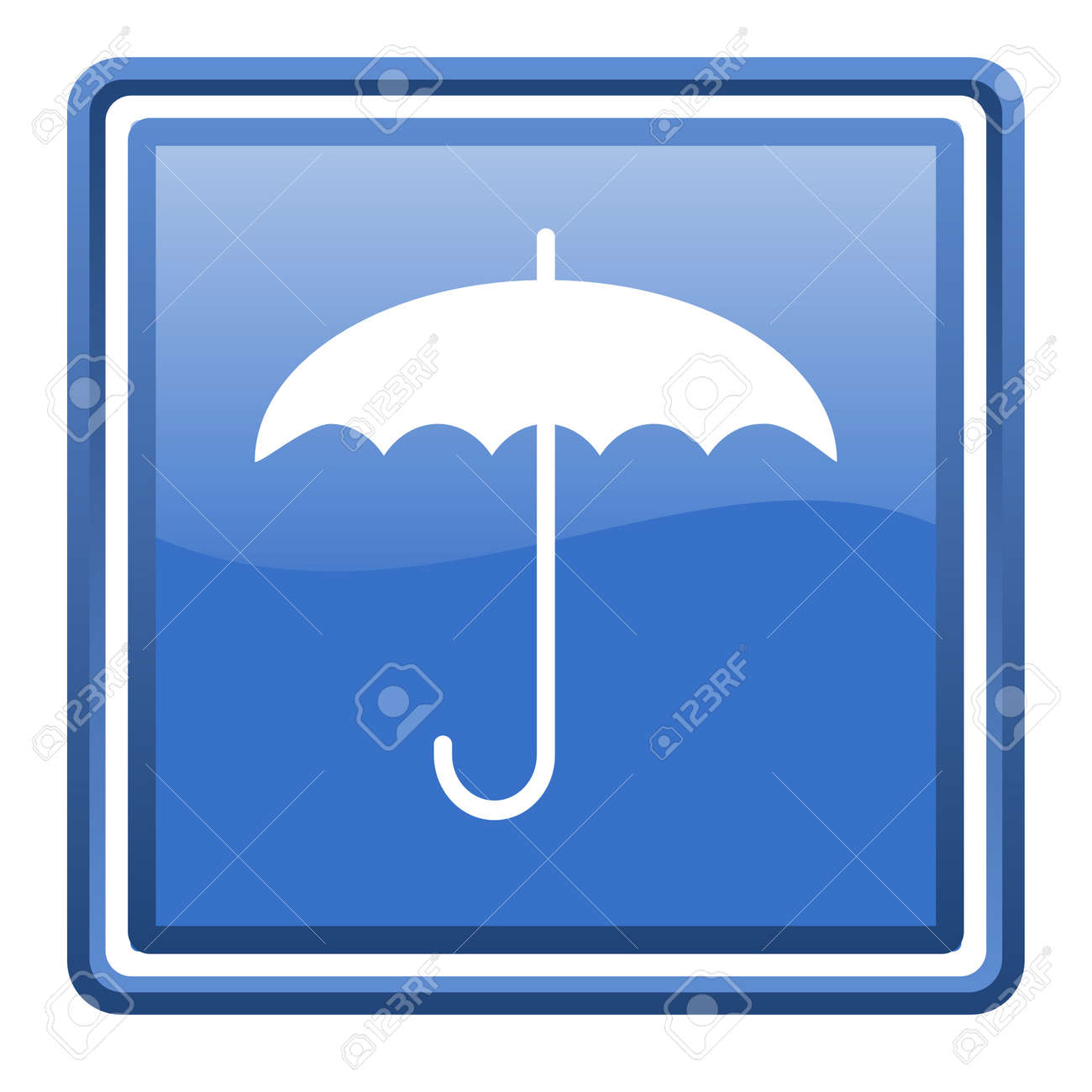 umbrella blue glossy square web icon isolated Stock Photo - 17093050