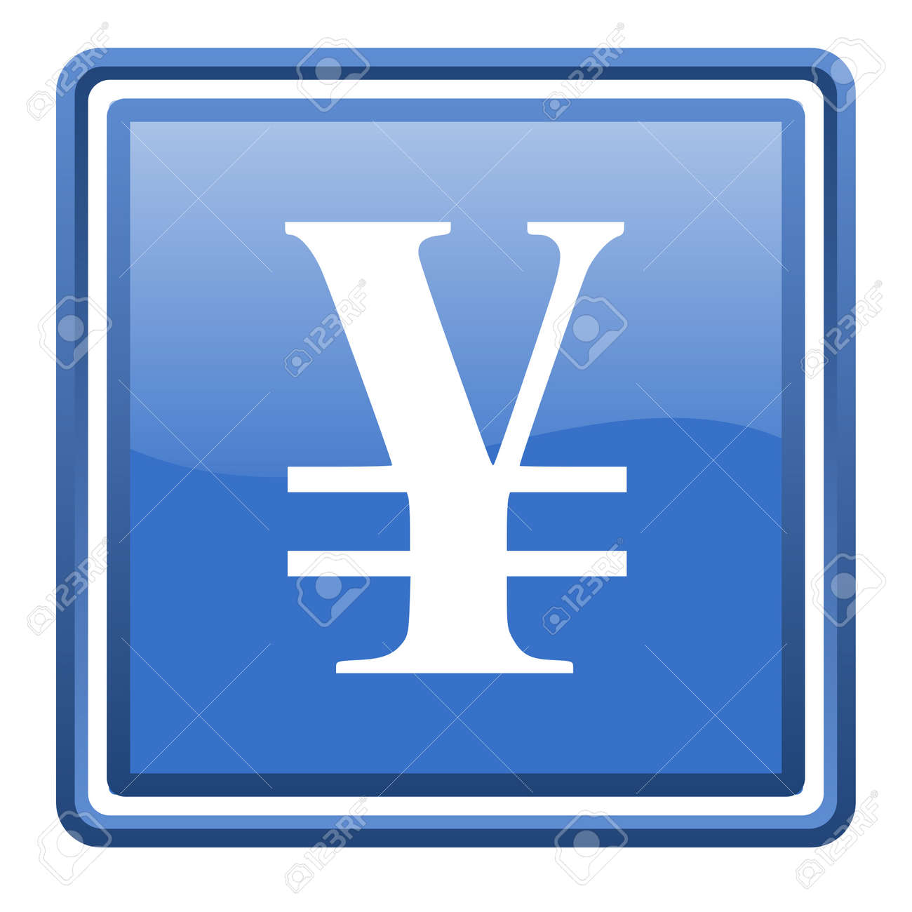 yen blue glossy square web icon isolated Stock Photo - 17093058
