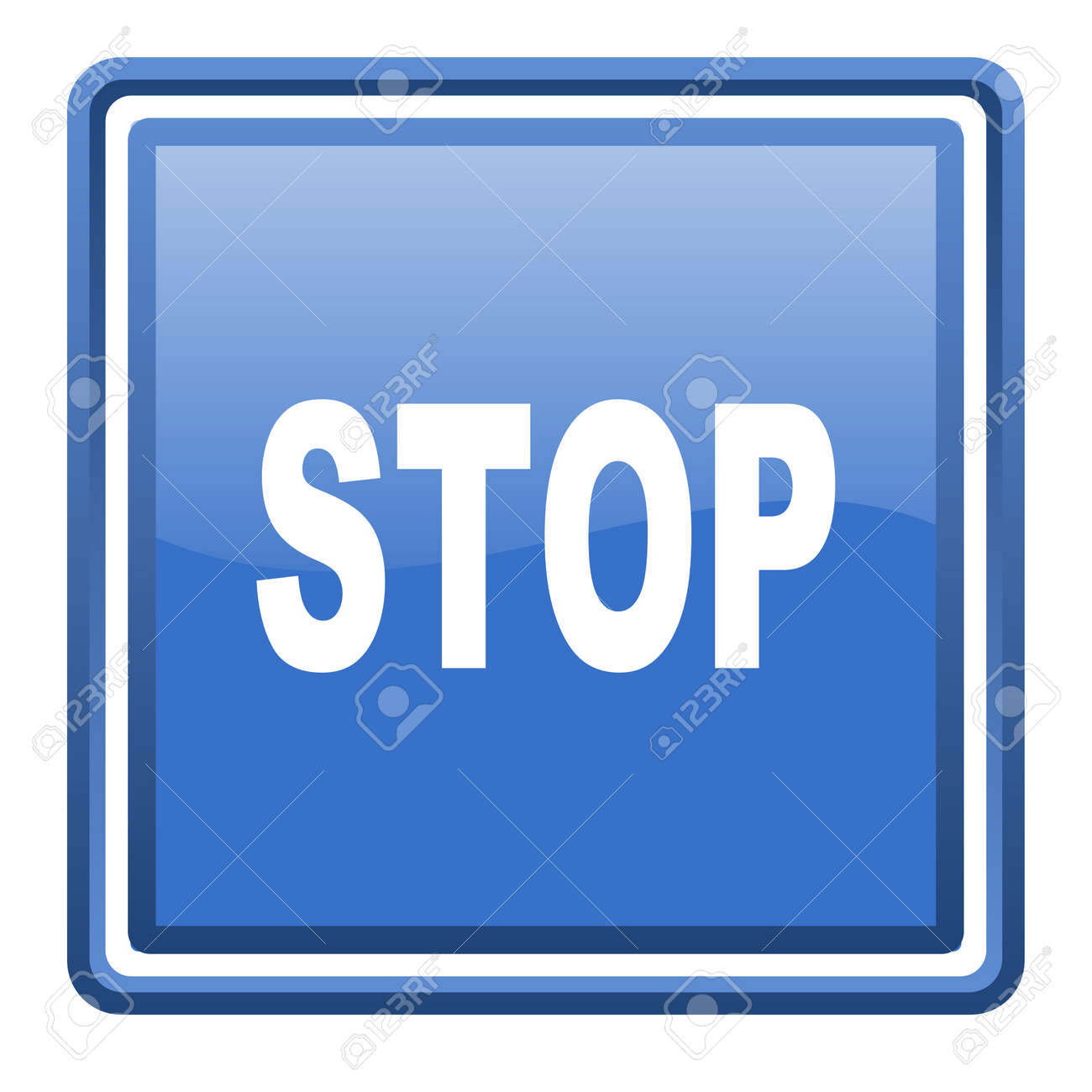 stop blue glossy square web icon isolated Stock Photo - 17093300
