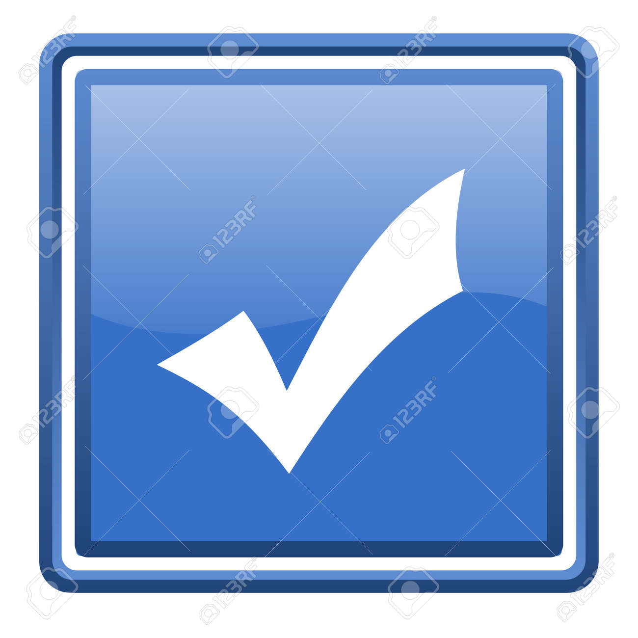 accept blue glossy square web icon isolated Stock Photo - 17093057