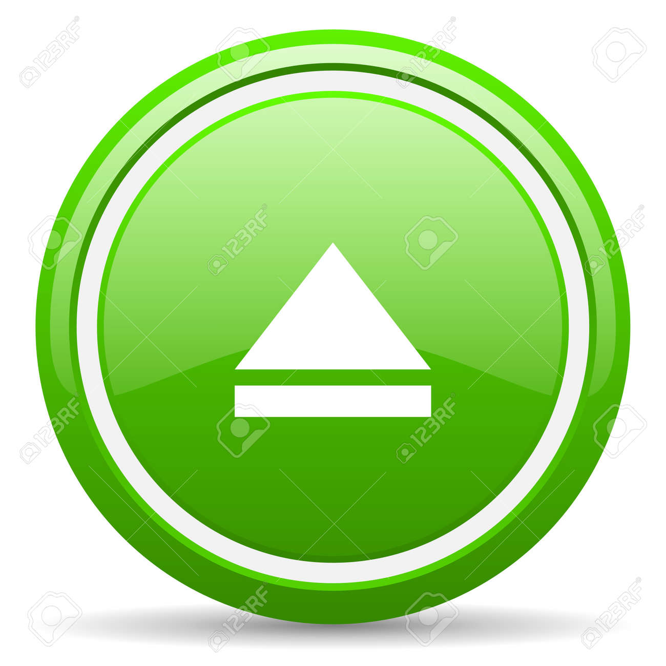 green glossy circle web icon on white background with shadow Stock Photo - 17138766