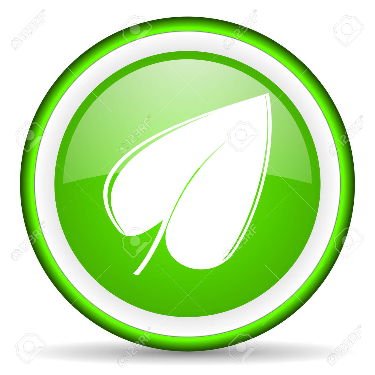 green circle glossy web icon with pictogram on white background Stock Photo - 17319058