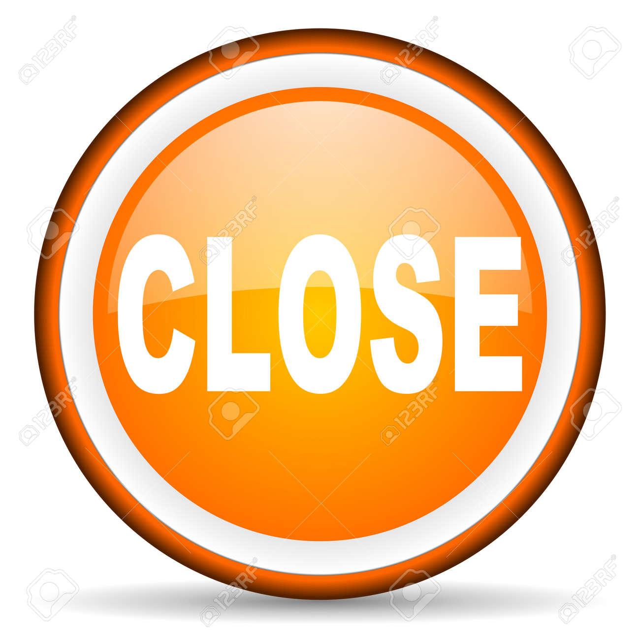 orange circle glossy web icon with pictogram on white background Stock Photo - 17318933
