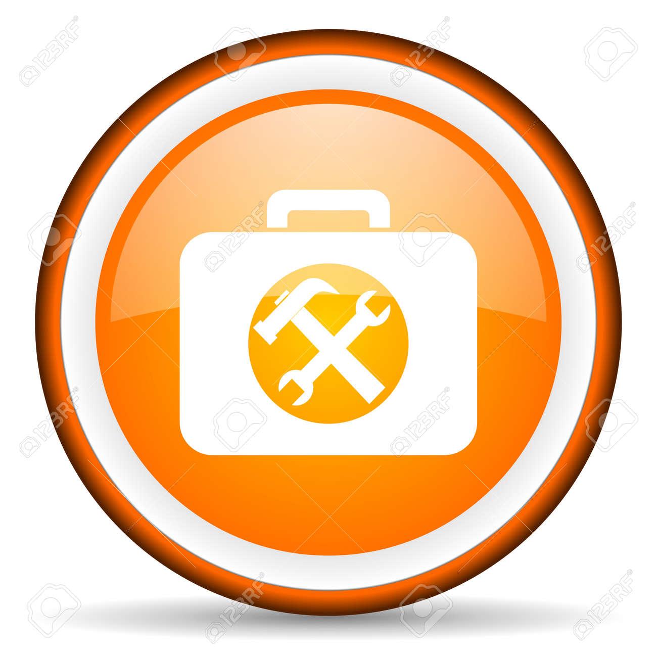 orange circle glossy web icon with pictogram on white background Stock Photo - 17318881