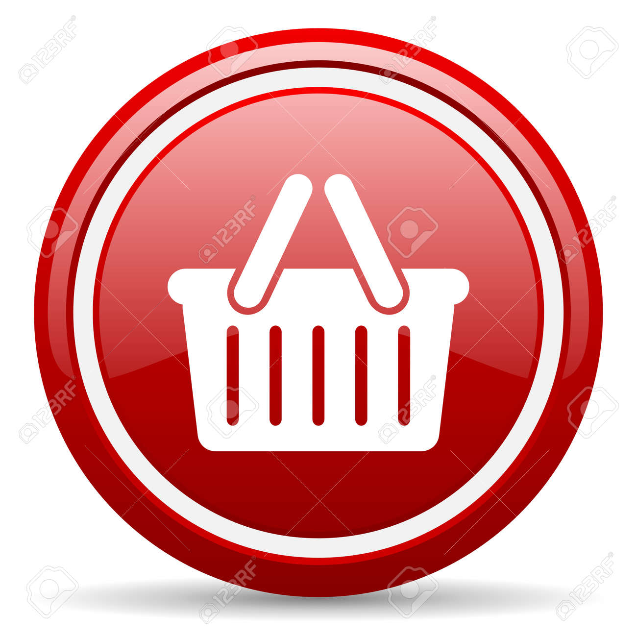 red circle glossy web icon with pictogram on white background Stock Photo - 17318444
