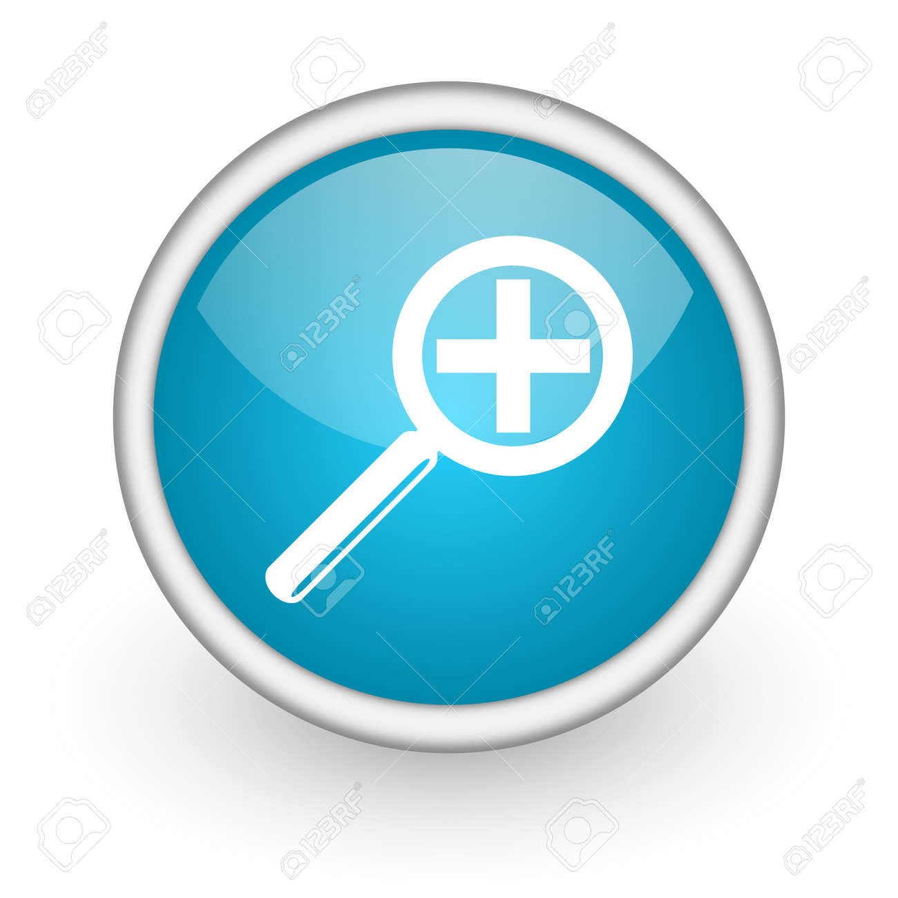 blue circle glossy web icon with pictogram on white background Stock Photo - 17426326