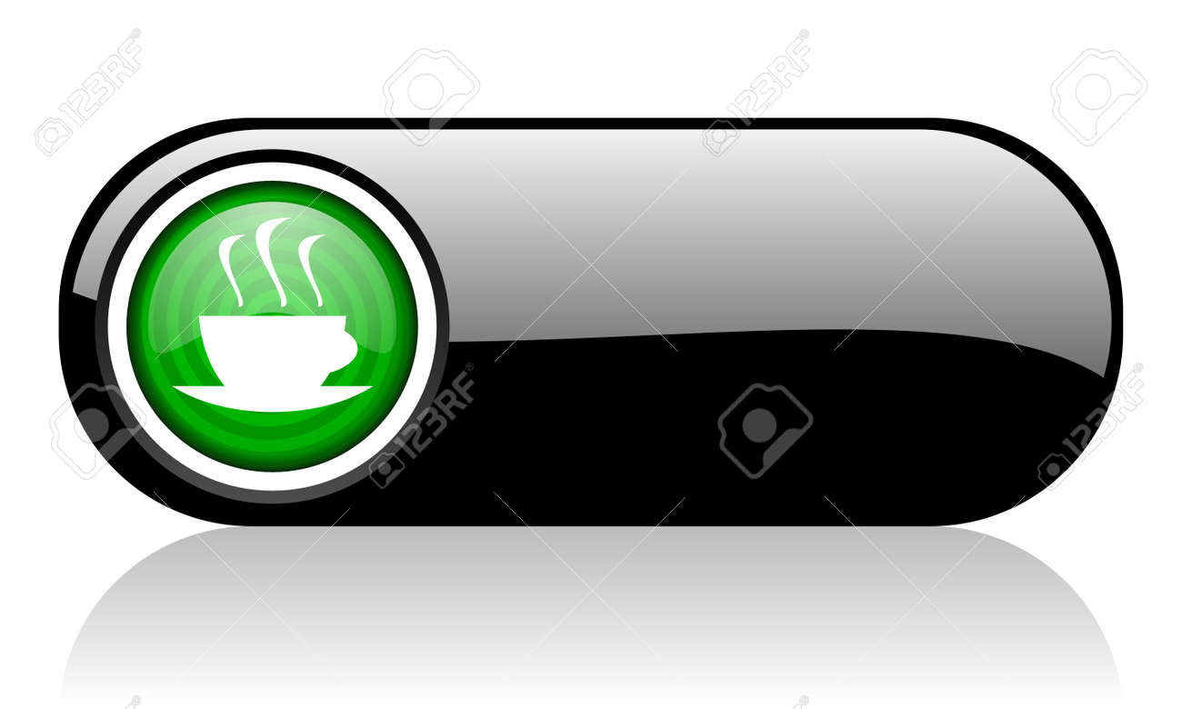 coffee black and green web icon on white background Stock Photo - 17507510