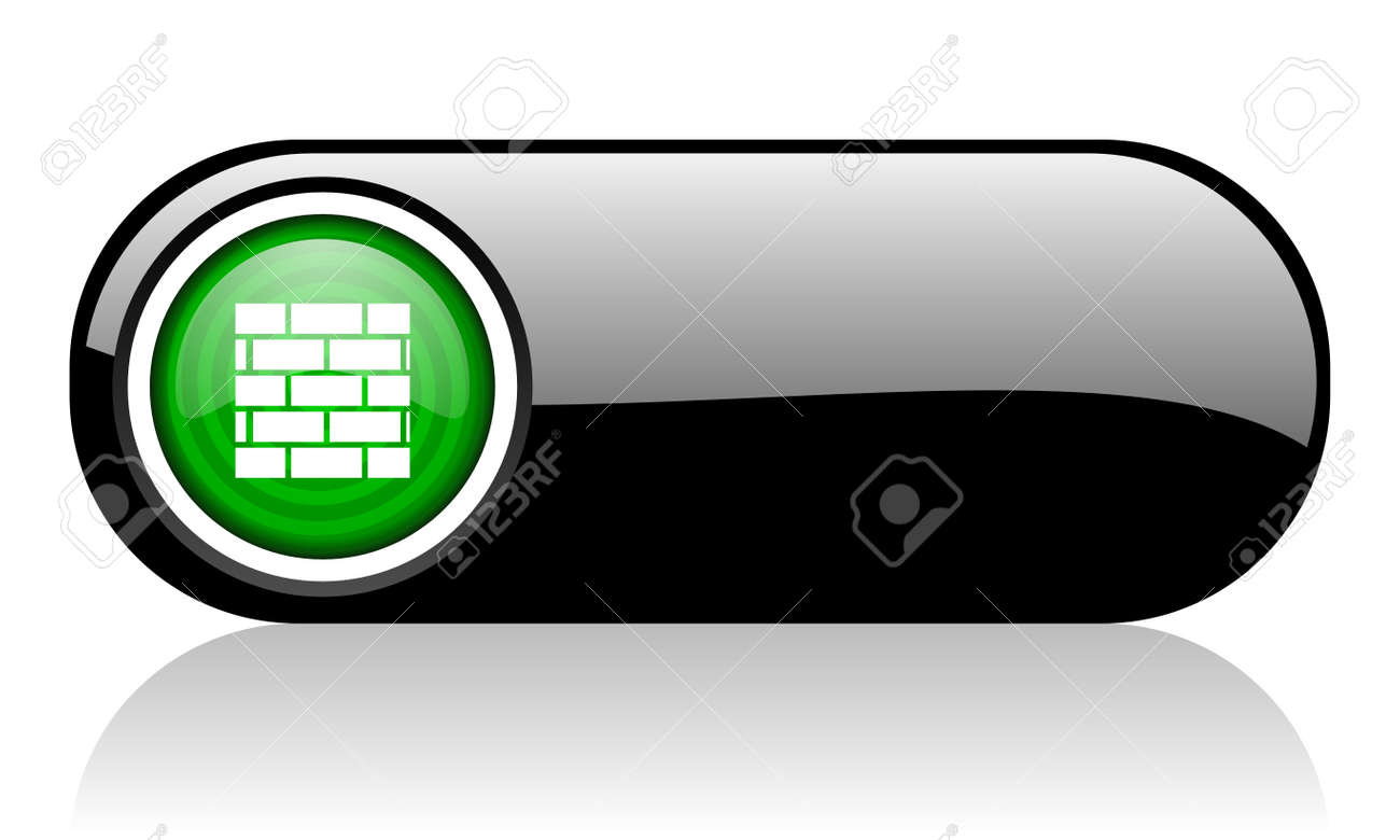 firewall black and green web icon on white background Stock Photo - 17507502